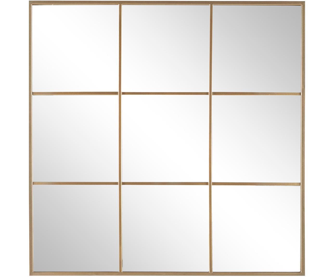 Wandspiegel Nucleos met goudkleurige metalen flijst, Lijst: gecoat metaal, Goudkleurig, 90 x 90 cm