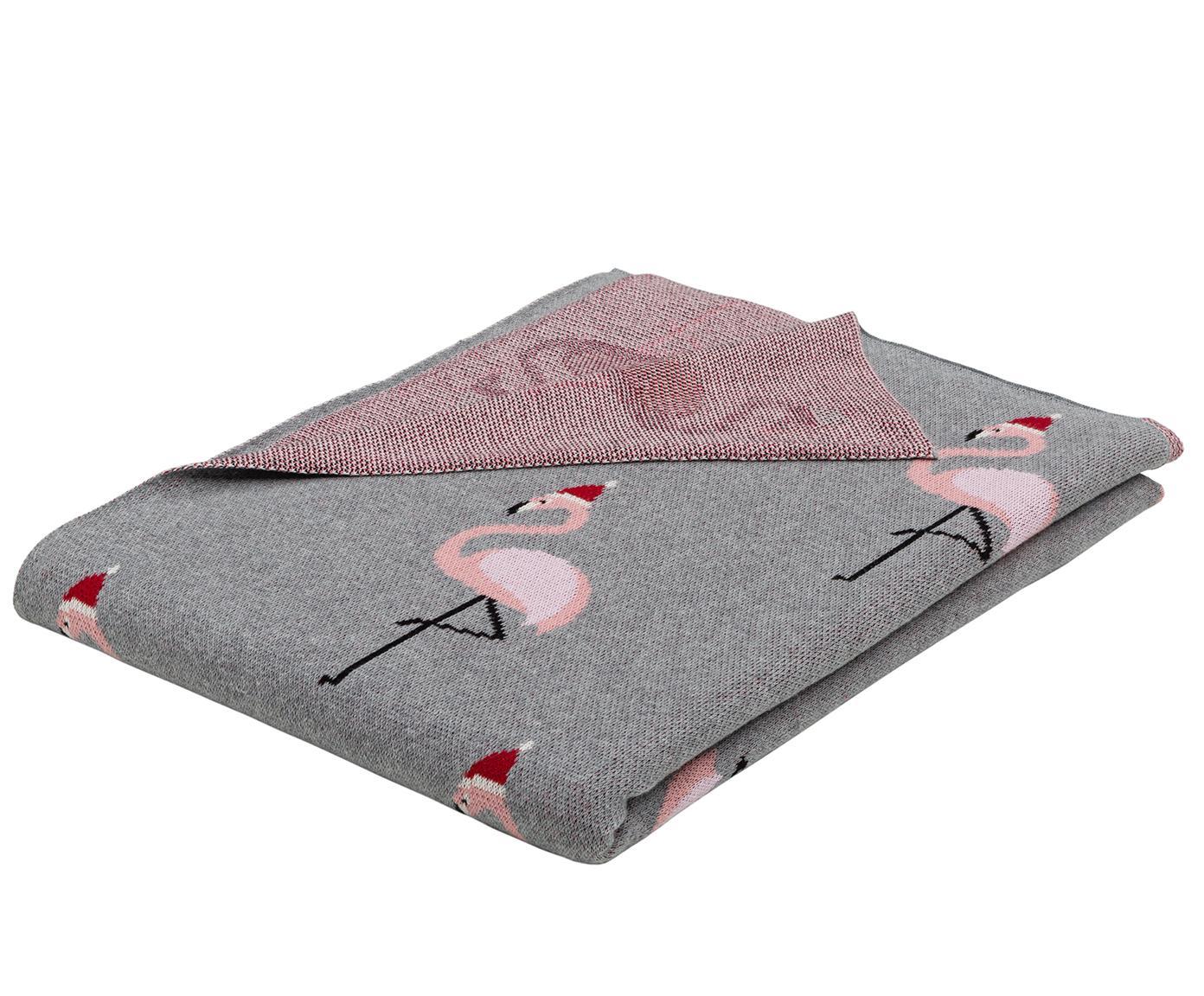 Manta doble cara tejida Flamingo, 100%algodón, Gris, multicolor, An 150 x L 200 cm