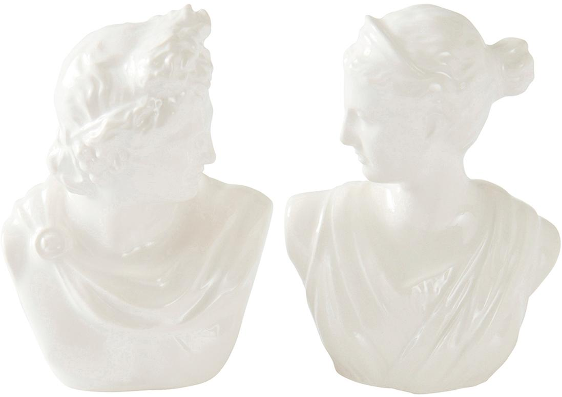 Salero y pimentero de porcelana Vita, 2pzas., Porcelana, Blanco, An 6 x Al 9 cm