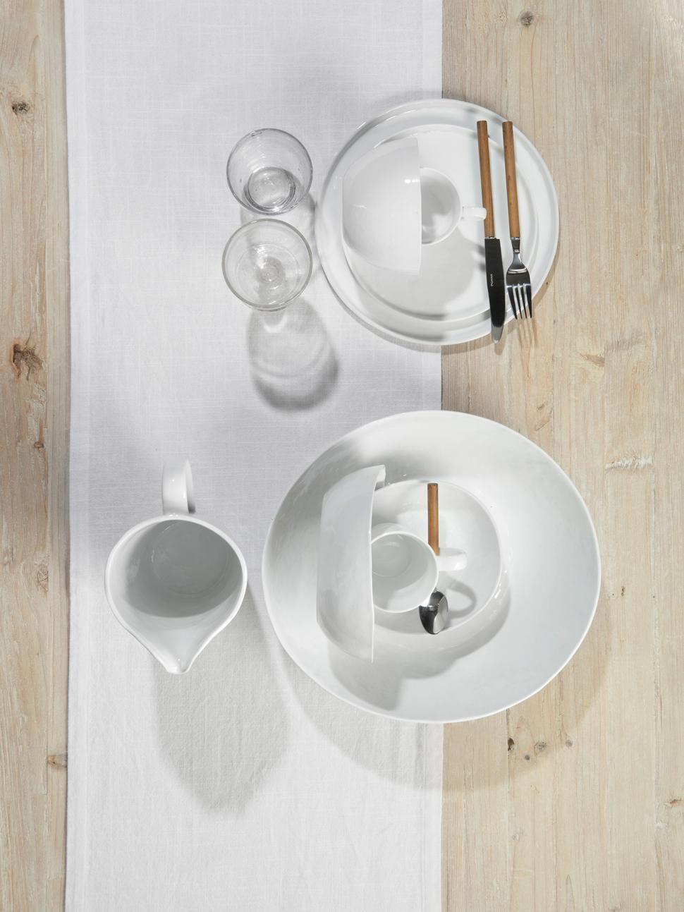 Assiettes plates à surface inégale Porcelino, 4pièces, Blanc