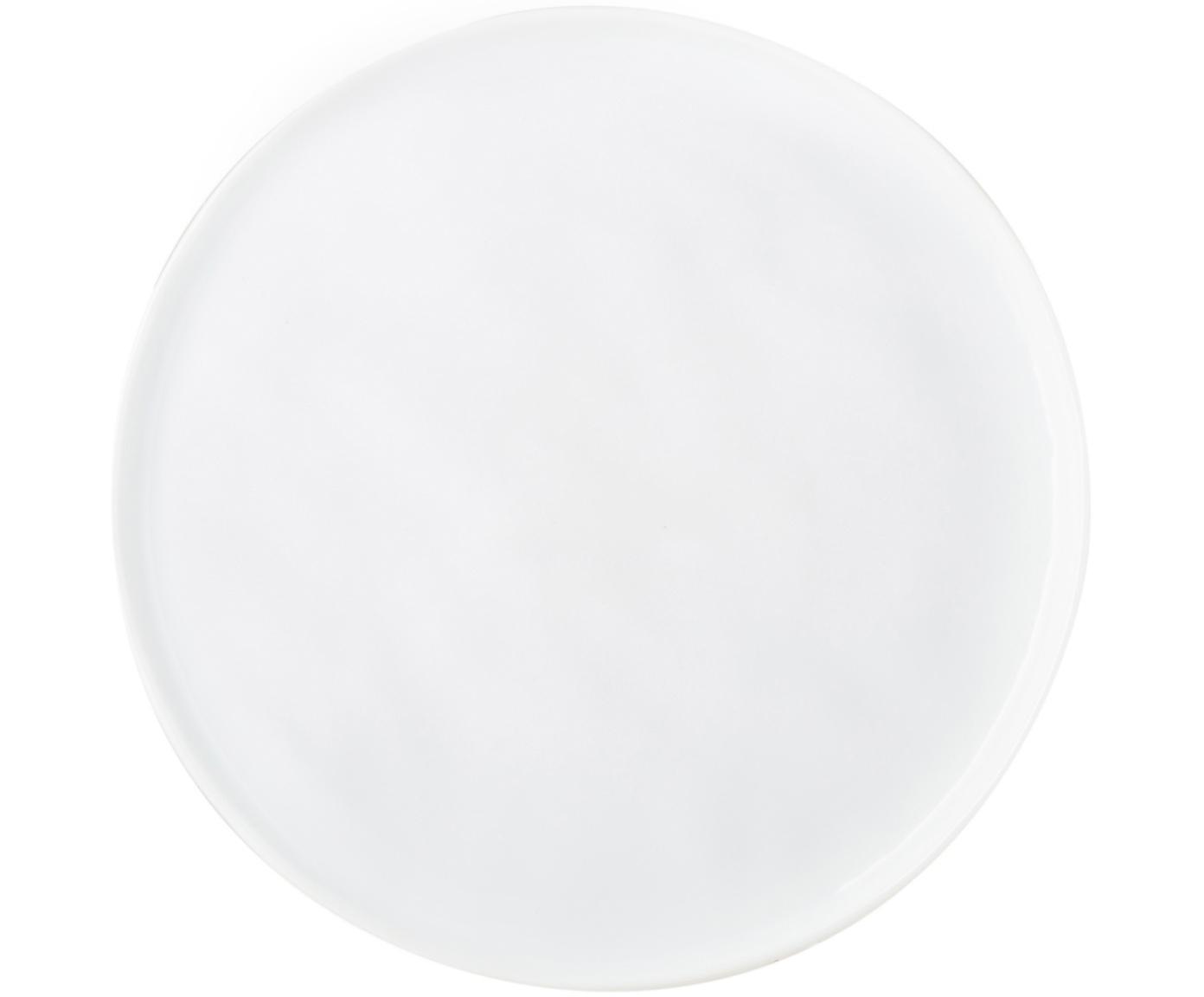 Talerz duży Porcelino, 4 szt., Porcelana o celowo nierównym kształcie, Biały, Ø 27 cm