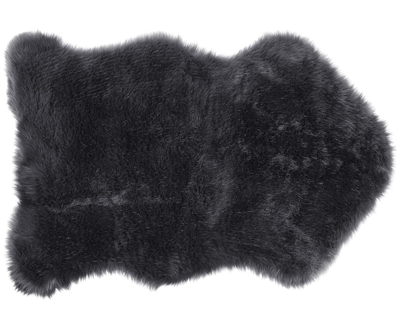 Kunstfell Mathilde, glatt, Vorderseite: 65% Acryl, 35% Polyester, Rückseite: 100% Polyester, Dunkelgrau, 60 x 90 cm