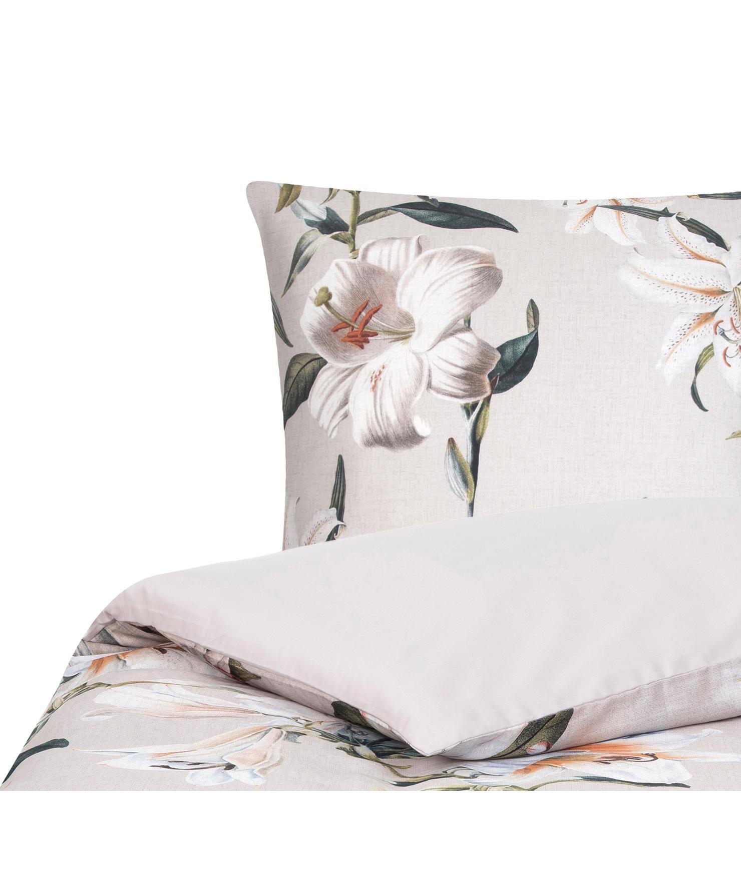 Baumwollsatin-Bettwäsche Flori in Beige mit Blumen-Print, Webart: Satin Fadendichte 210 TC,, Vorderseite: Beige, CremeweißRückseite: Beige, 155 x 220 cm + 1 Kissen 80 x 80 cm