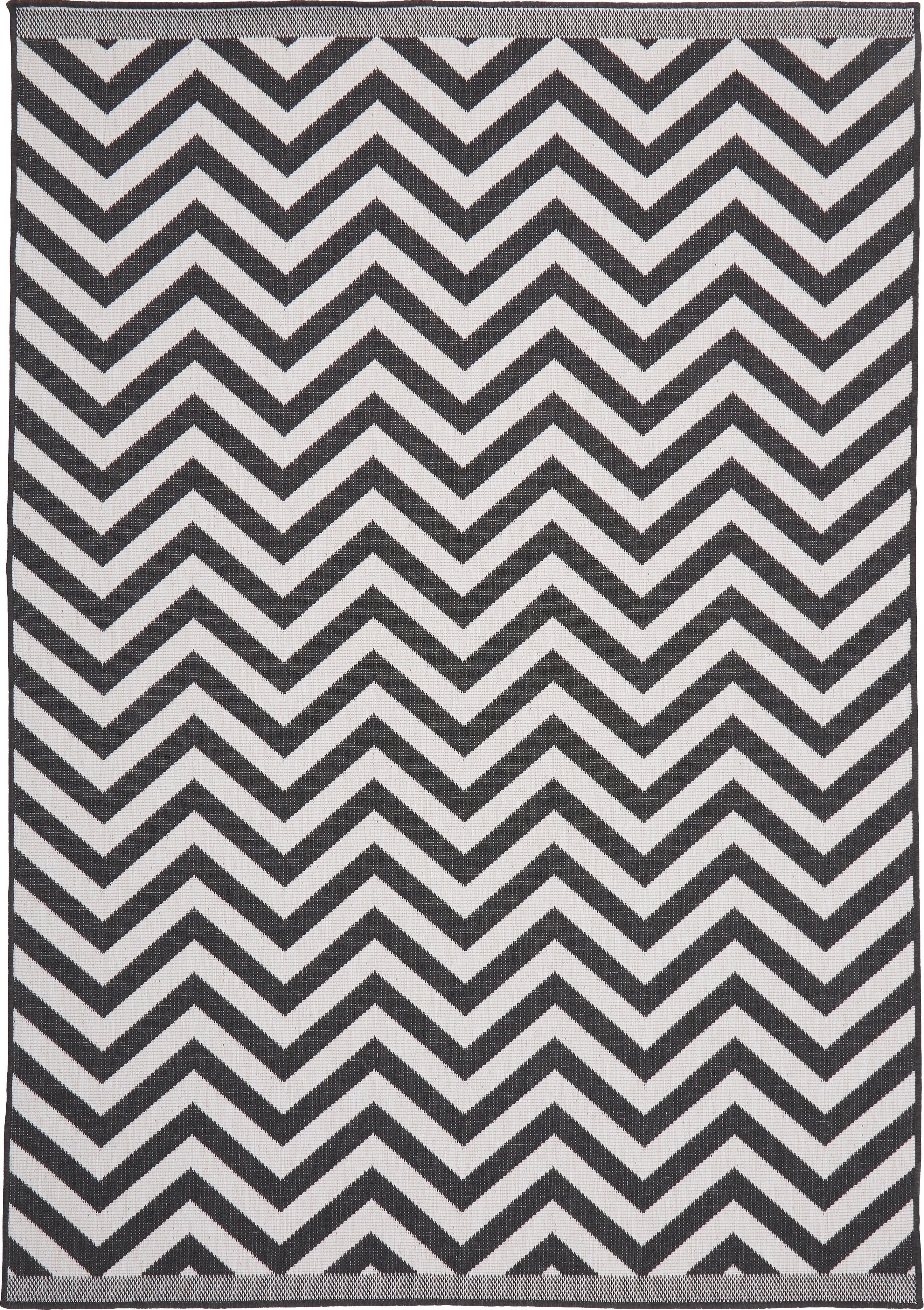 In- & Outdoor-Teppich Palma mit Zickzack-Muster, beidseitig verwendbar, Schwarz, Creme, B 160 x L 230 cm (Größe M)