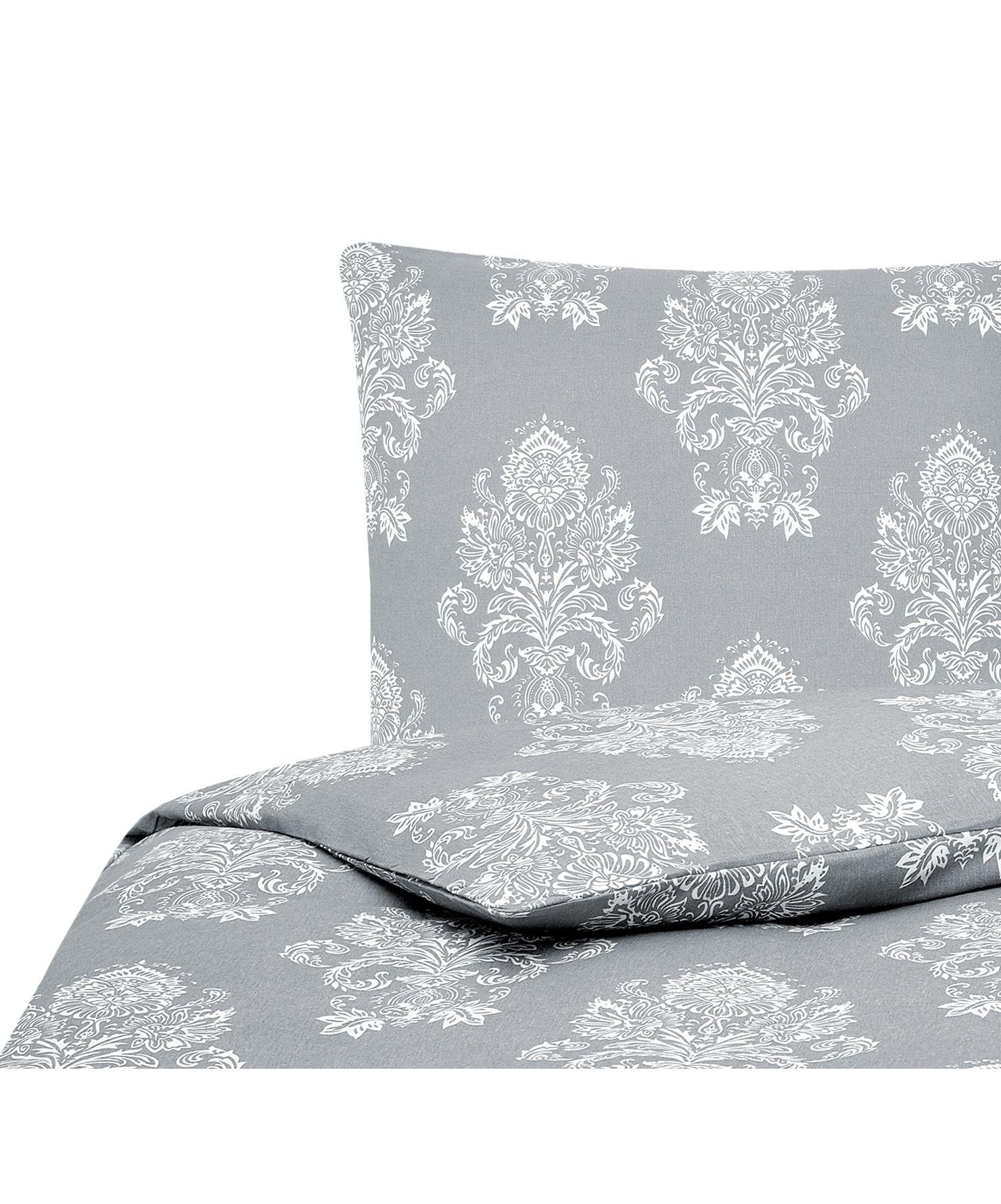 Flanell-Bettwäsche Sissi, gemustert, Webart: Flanell, Grau, Weiß, 135 x 200 cm + 1 Kissen 80 x 80 cm