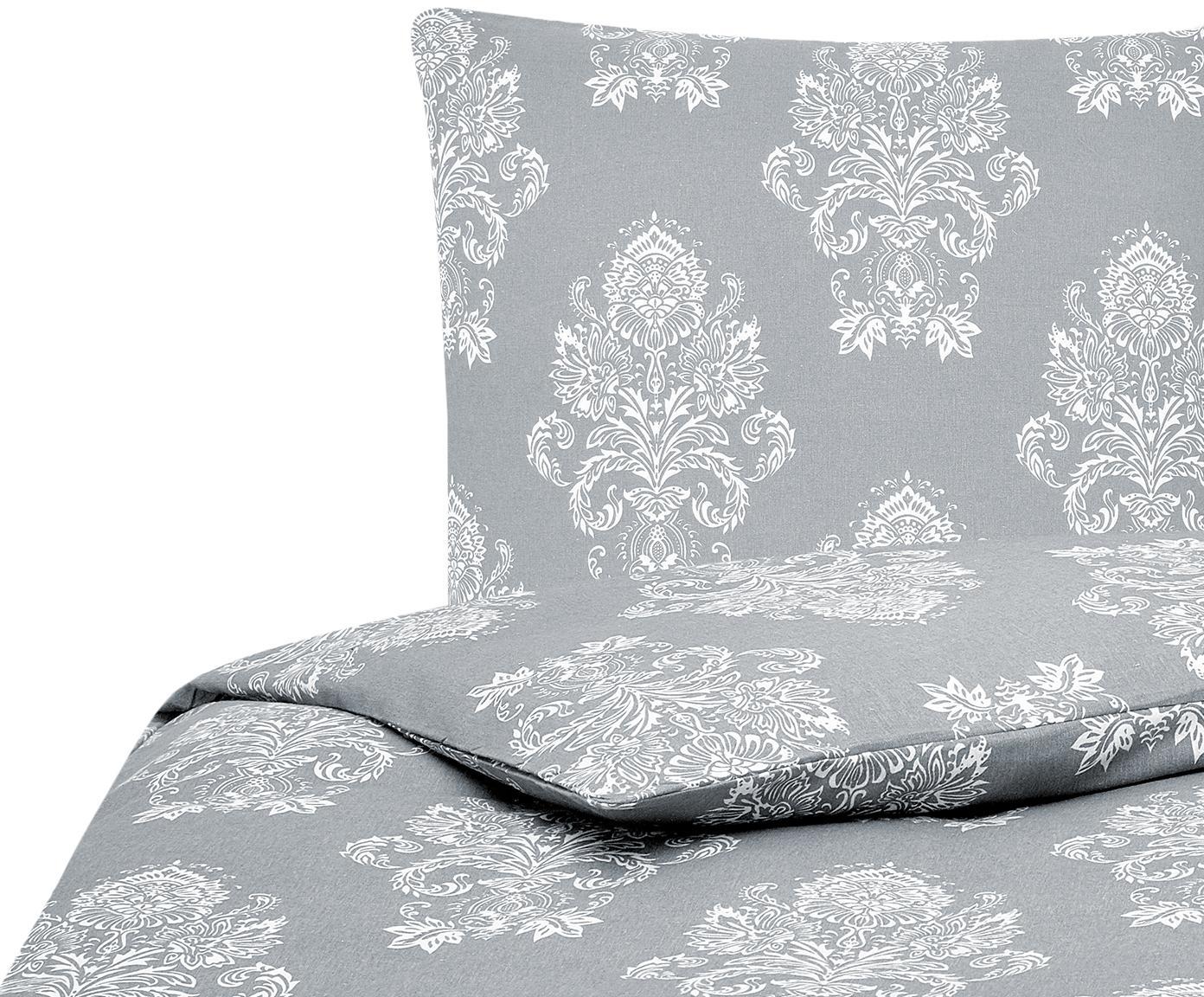 Flanell-Bettwäsche Sissi, gemustert, Webart: Flanell, Grau, Weiß, 135 x 200 cm