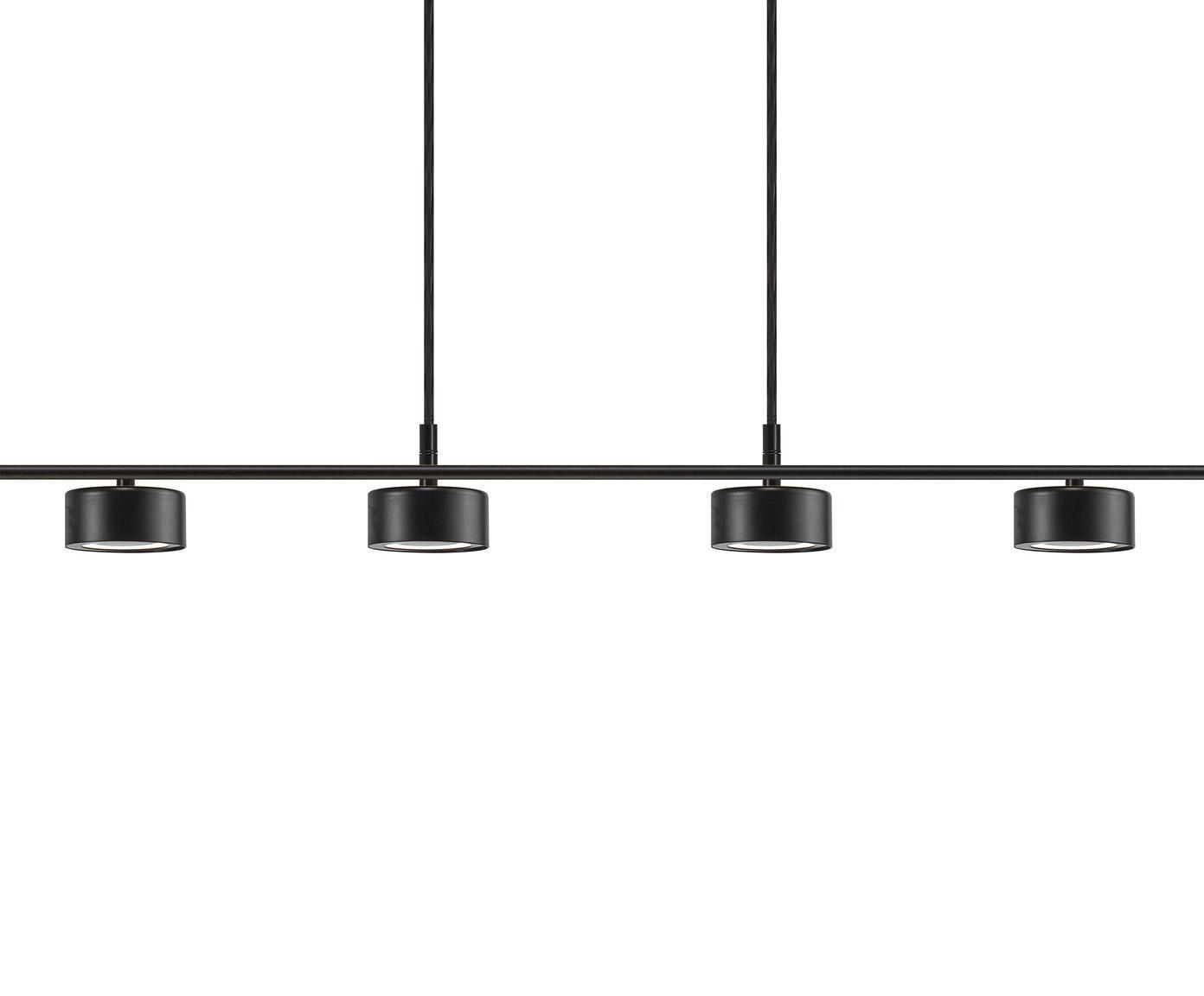 Grosse LED Pendelleuchte Clyde, Lampenschirm: Metall, beschichtet, Baldachin: Metall, beschichtet, Schwarz, 115 x 210 cm
