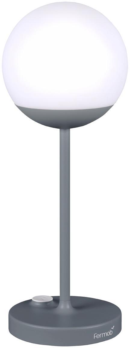 Mobile LED Außenleuchte Mooon, Lampenschirm: Kunststoff, Gewittergrau, Ø 15 x H 41 cm