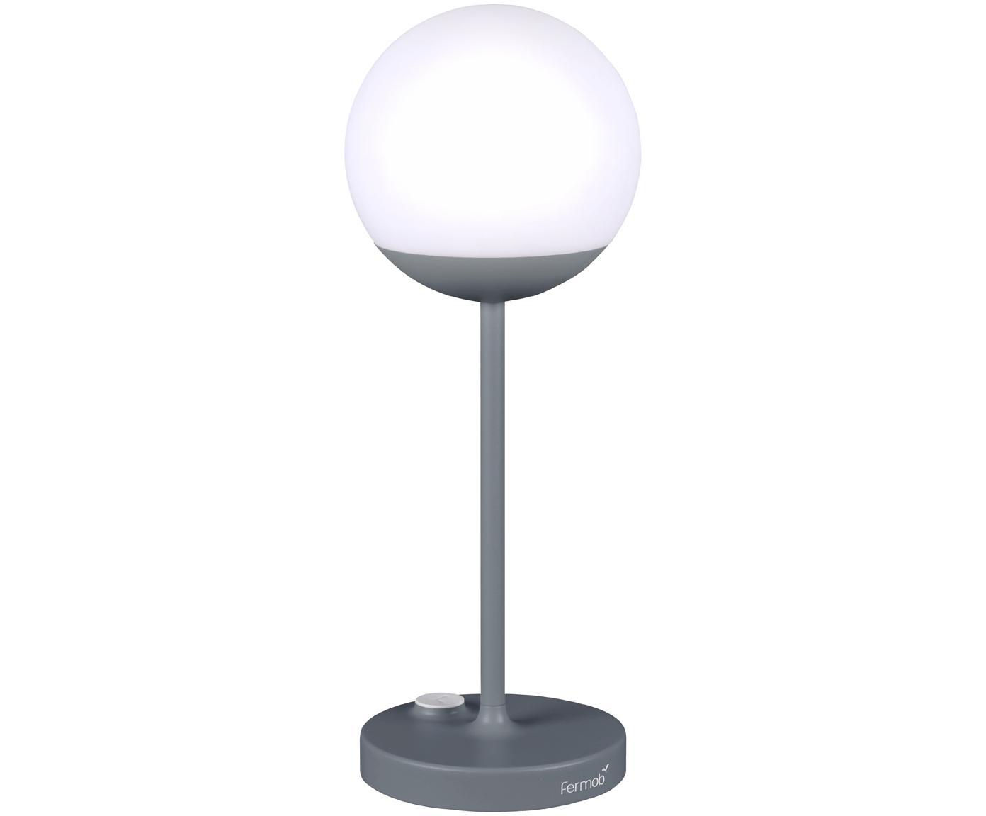 Mobile LED Aussenleuchte Mooon, Lampenschirm: Kunststoff, Gewittergrau, Ø 15 x H 41 cm