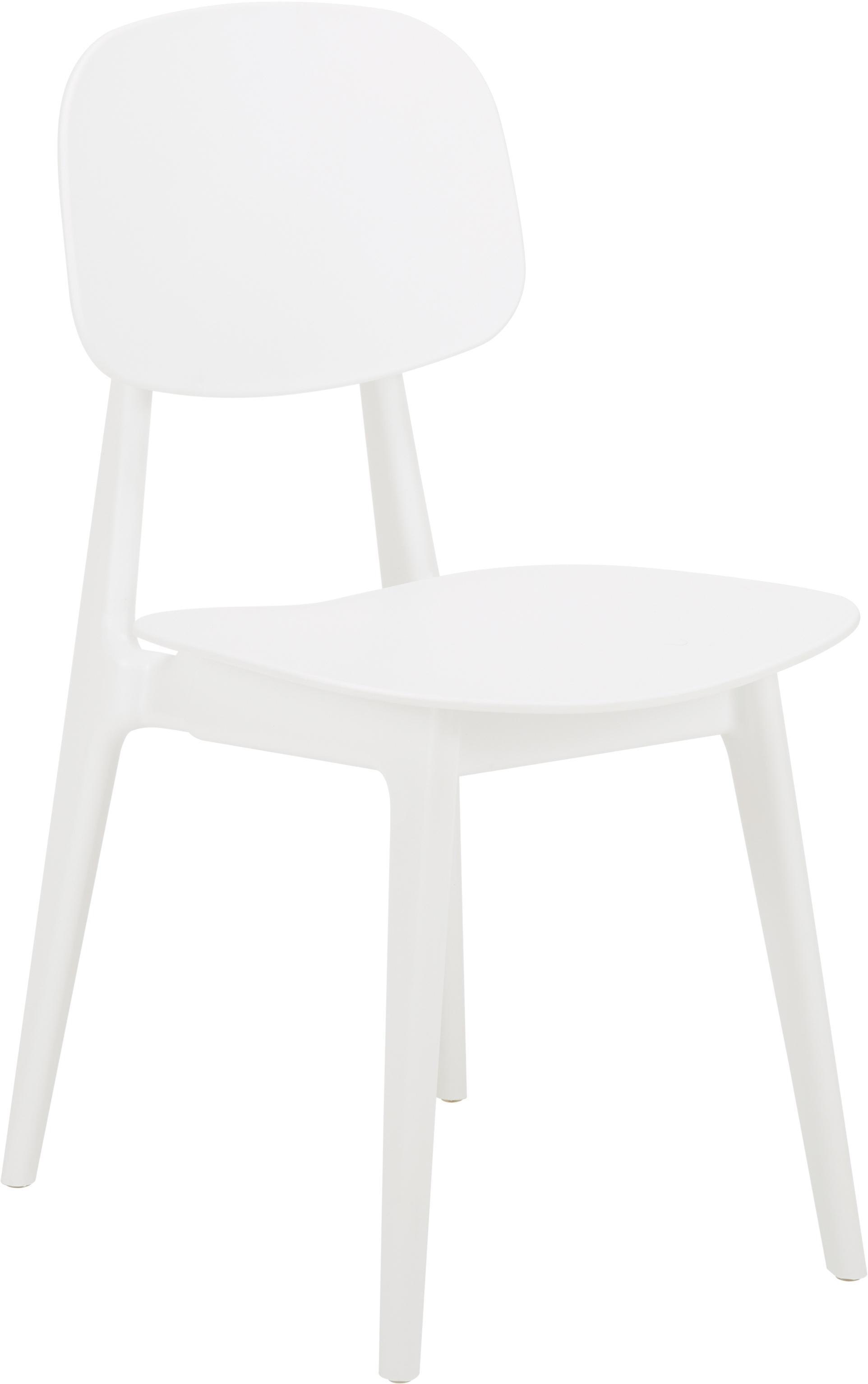 Kunststof stoelen Smilla, 2 stuks, Zitvlak: kunststof, Poten: gepoedercoat metaal, Mat wit, B 43 x D 49 cm