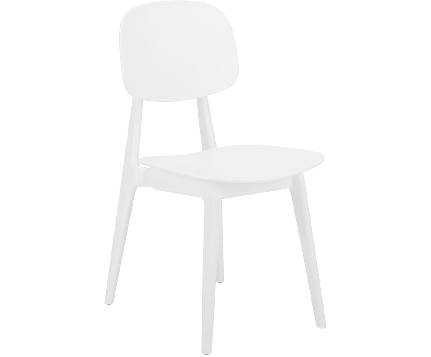 Sillas de plástico Smilla, 2uds., Asiento: plástico, Patas: metal, con pintura en pol, Blanco mate, An 43 x F 49 cm