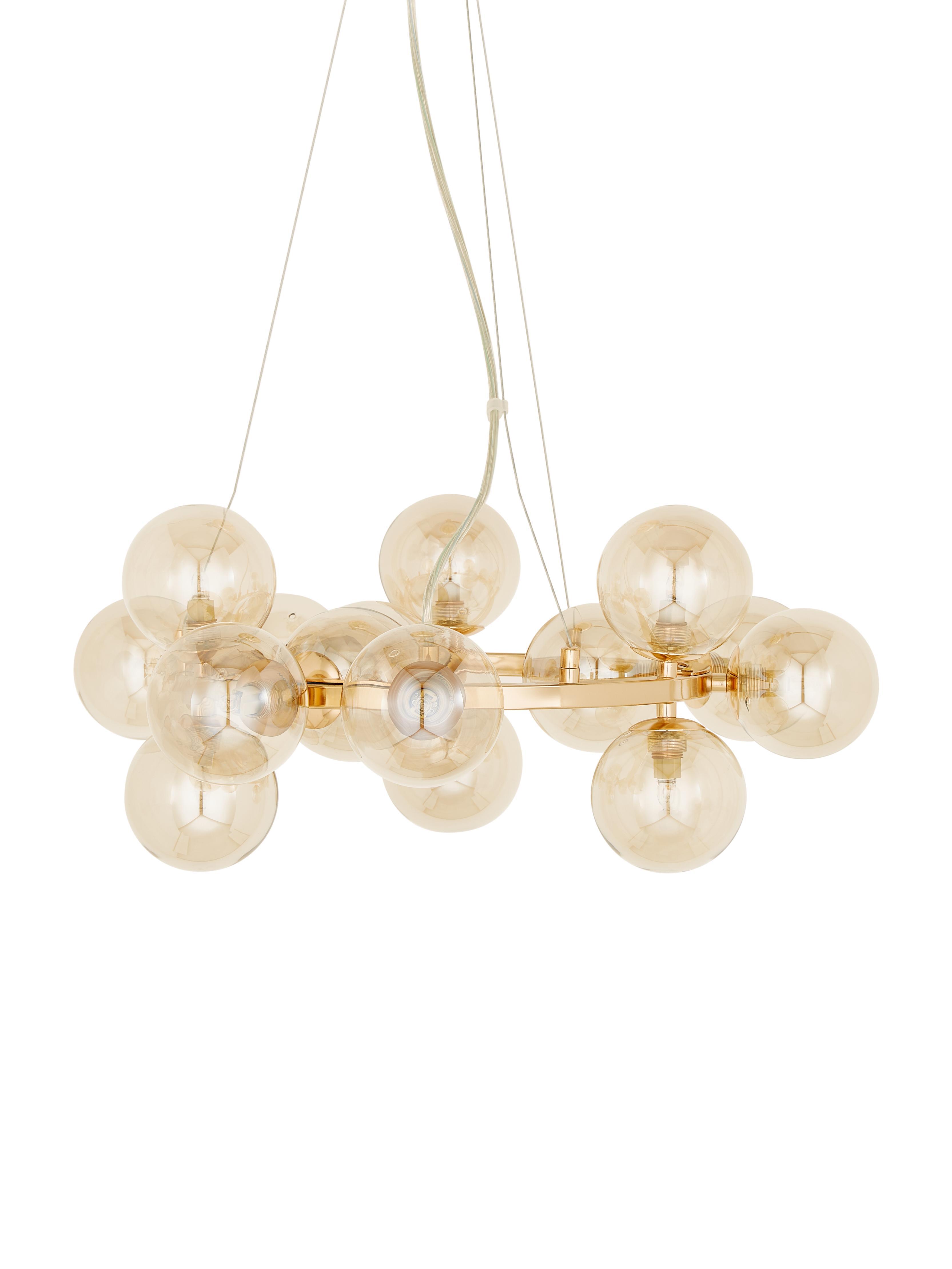 Hanglamp met glazen bollen Splendor, Koperkleurig, Ø 58 x H 22 cm
