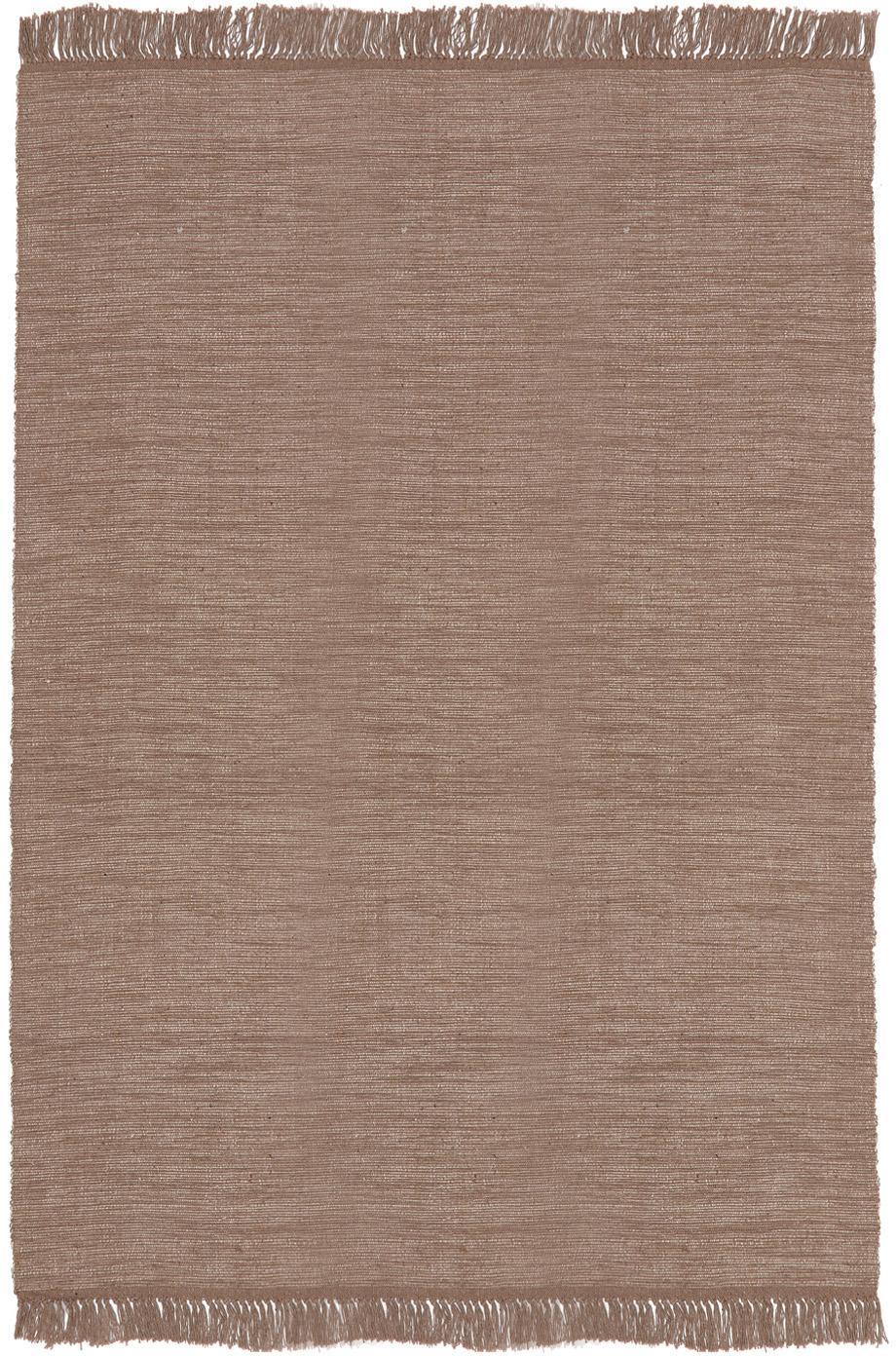 Dywan z bawełny z frędzlami Dag, Bawełna, Taupe, S 140 x D 200 cm (Rozmiar S)