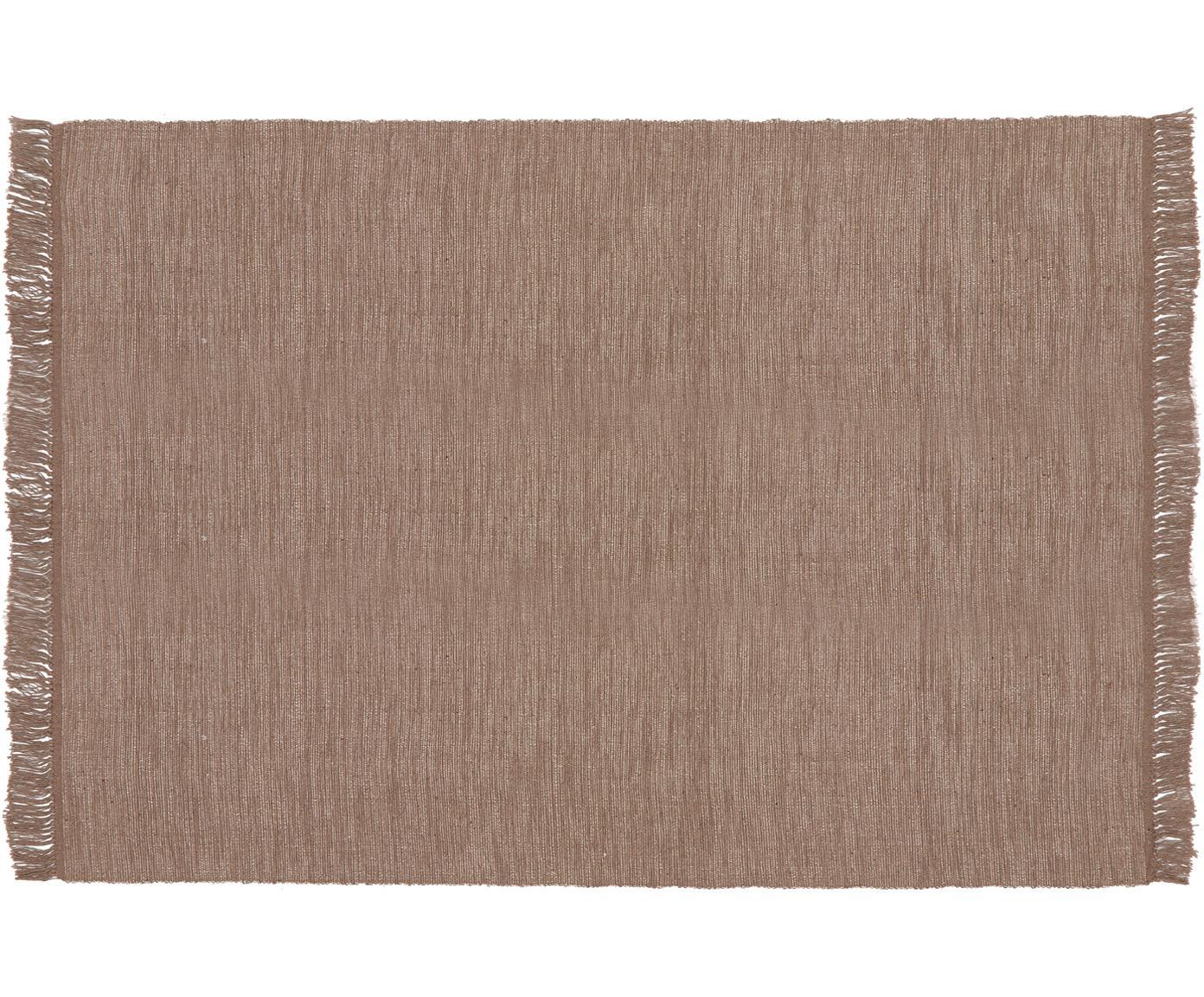 Alfombra de algodón con flecos Dag, Algodón, Gris pardo, An 140 x L 200 cm (Tamaño S)