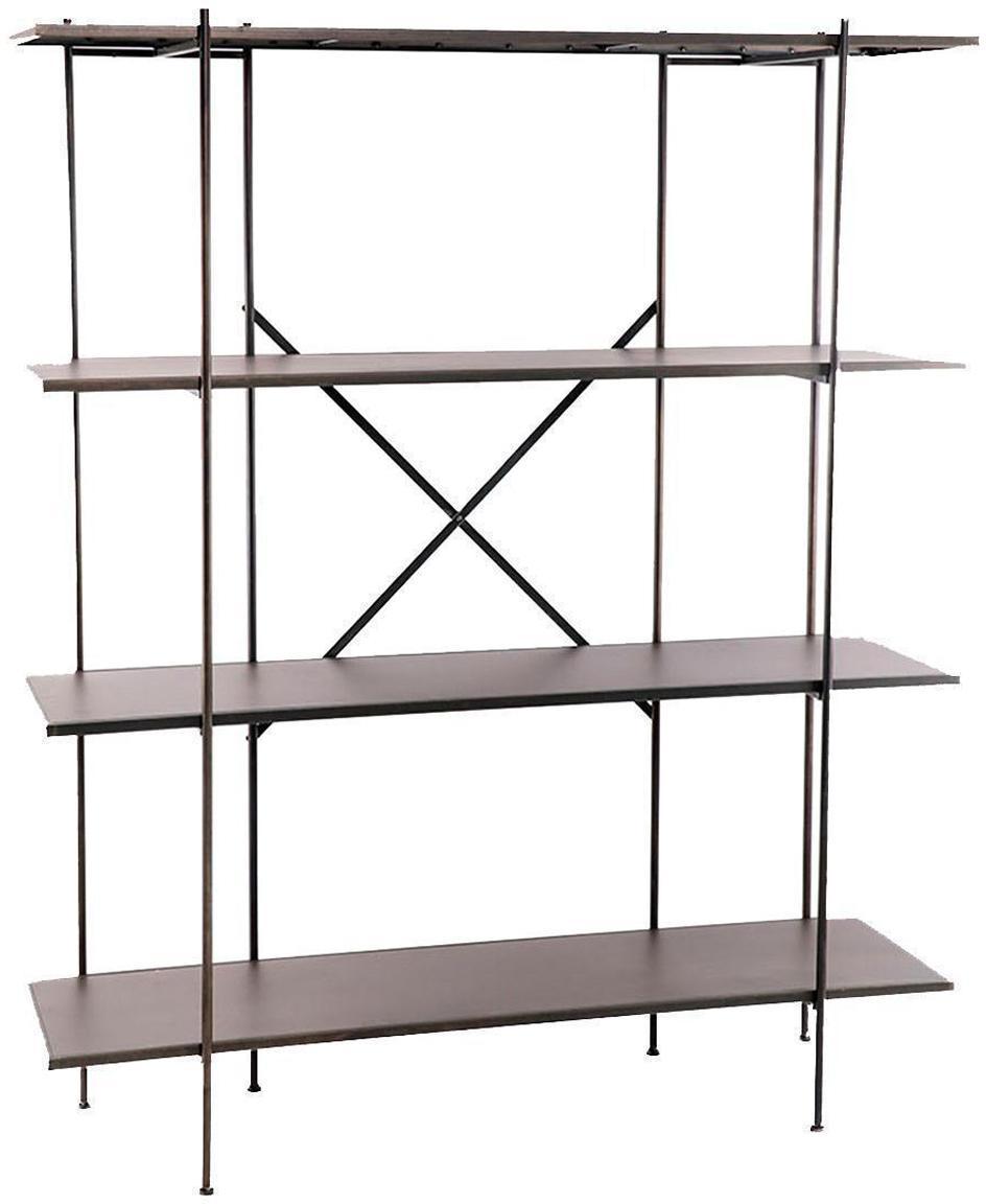 Estantería Lola, Estructura: metal, Estantes: metal, Gris con pátina dorada, An 150 x Al 180 cm
