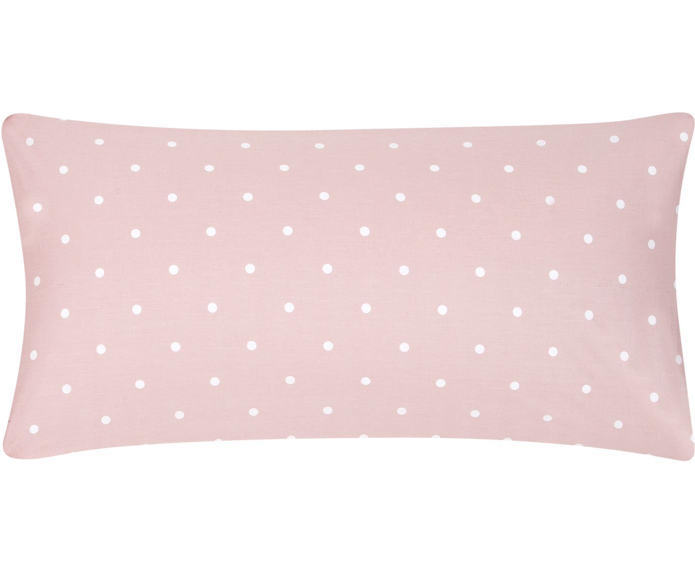 Gepunktete Baumwoll-Kissenbezüge Dotty in Rosa/Weiß, 2 Stück, Webart: Renforcé Fadendichte 144 , Rosa, Weiß, 40 x 80 cm