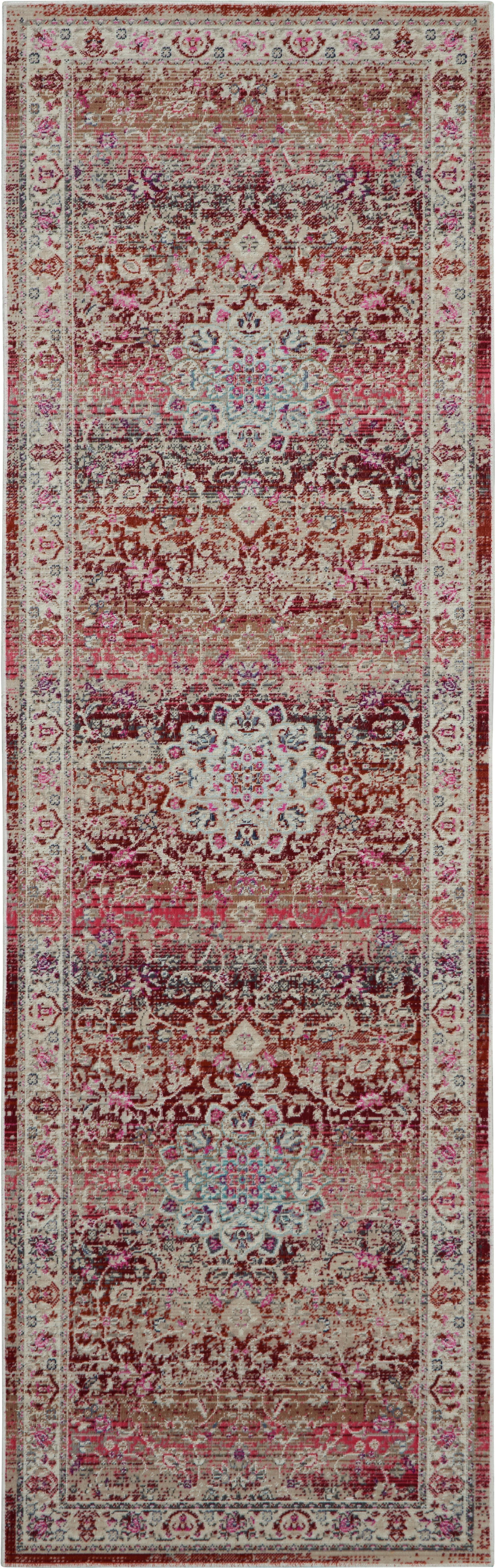 Passatoia a pelo corto Kashan Age, Retro: Latex, Beige, tonalità rosse, Larg. 70 x Lung. 245 cm