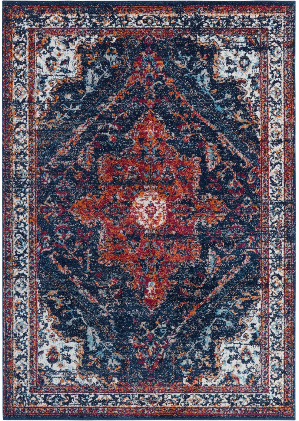 Alfombra Azrow, estilo vintage, Parte superior: 100%polipropileno, Reverso: poliéster, Azul oscuro, rojo, An 120 x L 170 cm (Tamaño S)
