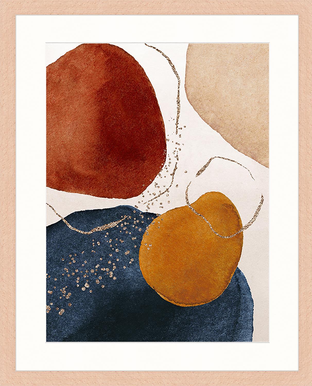 Gerahmter Digitaldruck Terracota And Gold, Bild: Digitaldruck auf Papier, , Rahmen: Holz, lackiert, Front: Plexiglas, Mehrfarbig, 43 x 53 cm