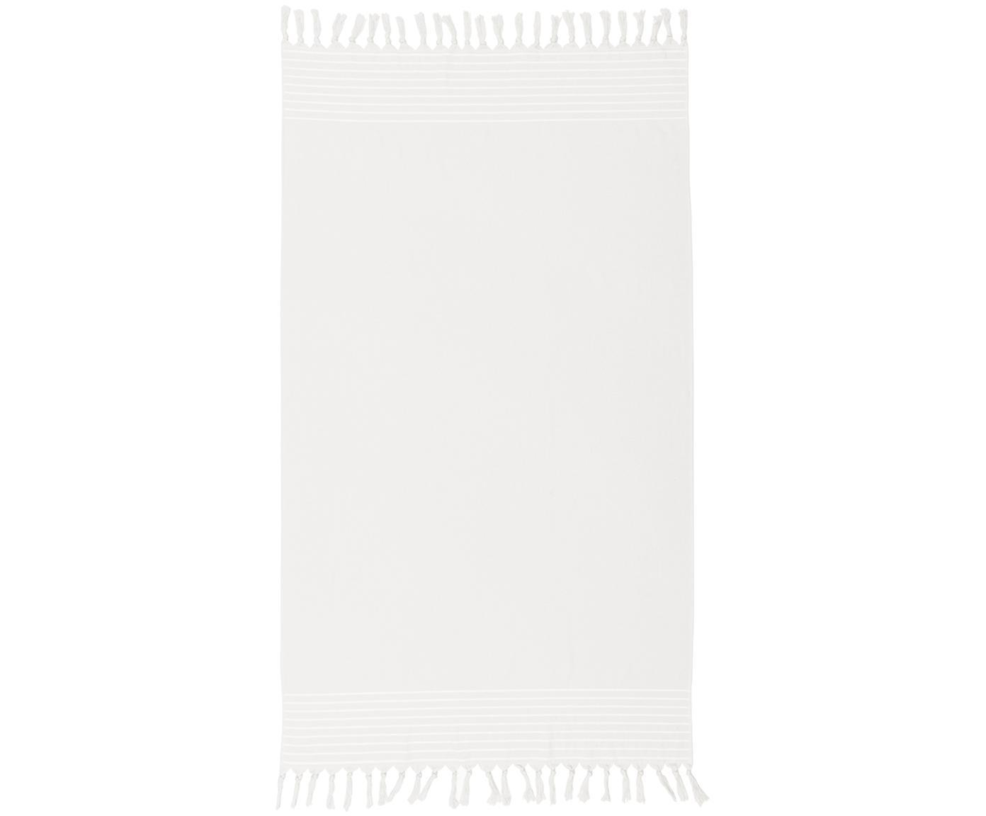 Telo fouta con retro in spugna Freddy, Retro: spugna, Bianco crema, Larg. 100 x Lung. 180 cm