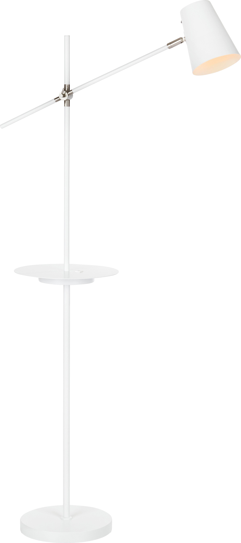 Lampada da terra con mensola e connessione USB Linear, Lampada: metallo rivestito, Bianco, Larg. 28 x Alt. 144 cm