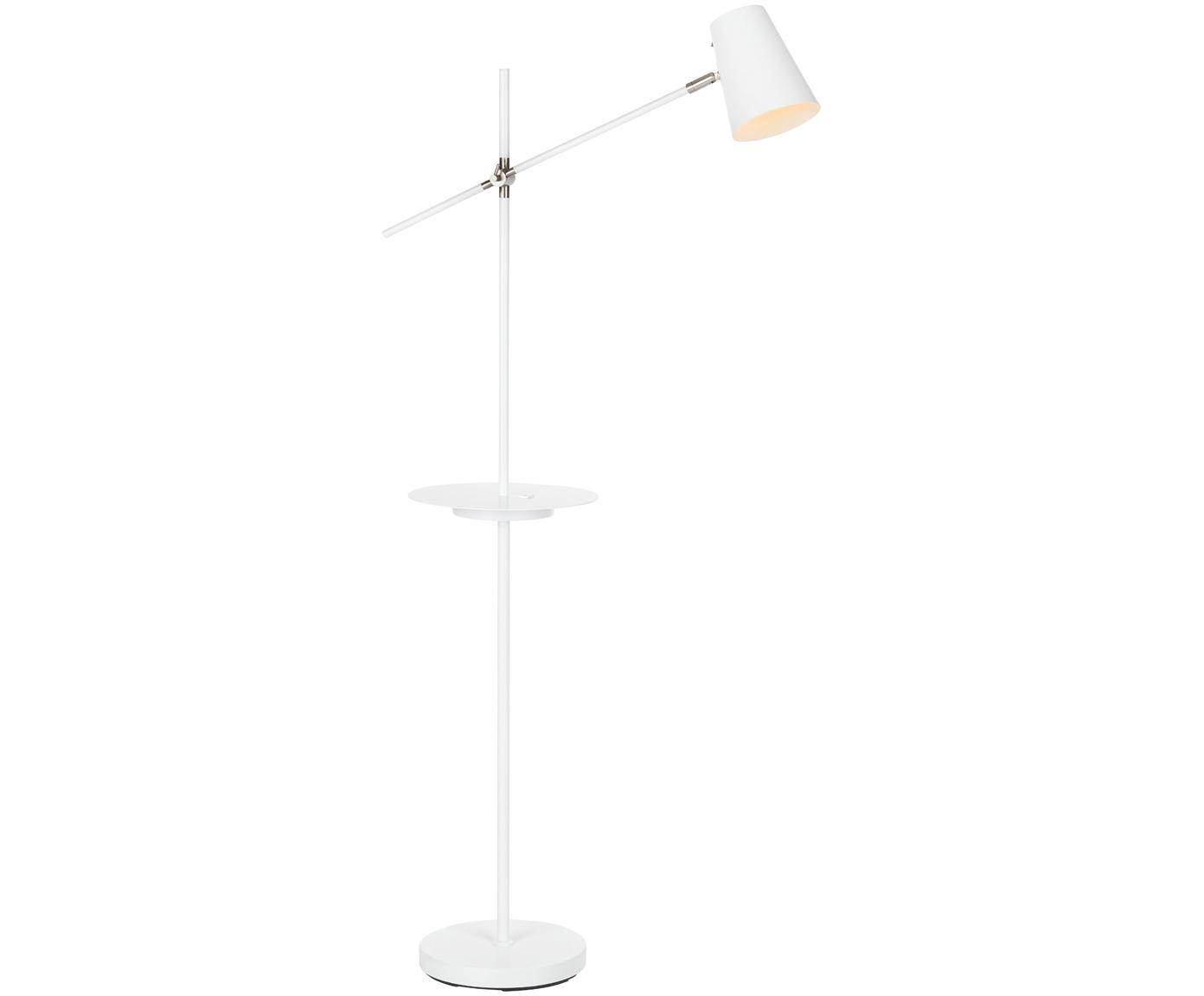 Lámpara de pie Linear, con conexión USB, Lámpara: metal recubierto, Blanco, An 28 x Al 144 cm