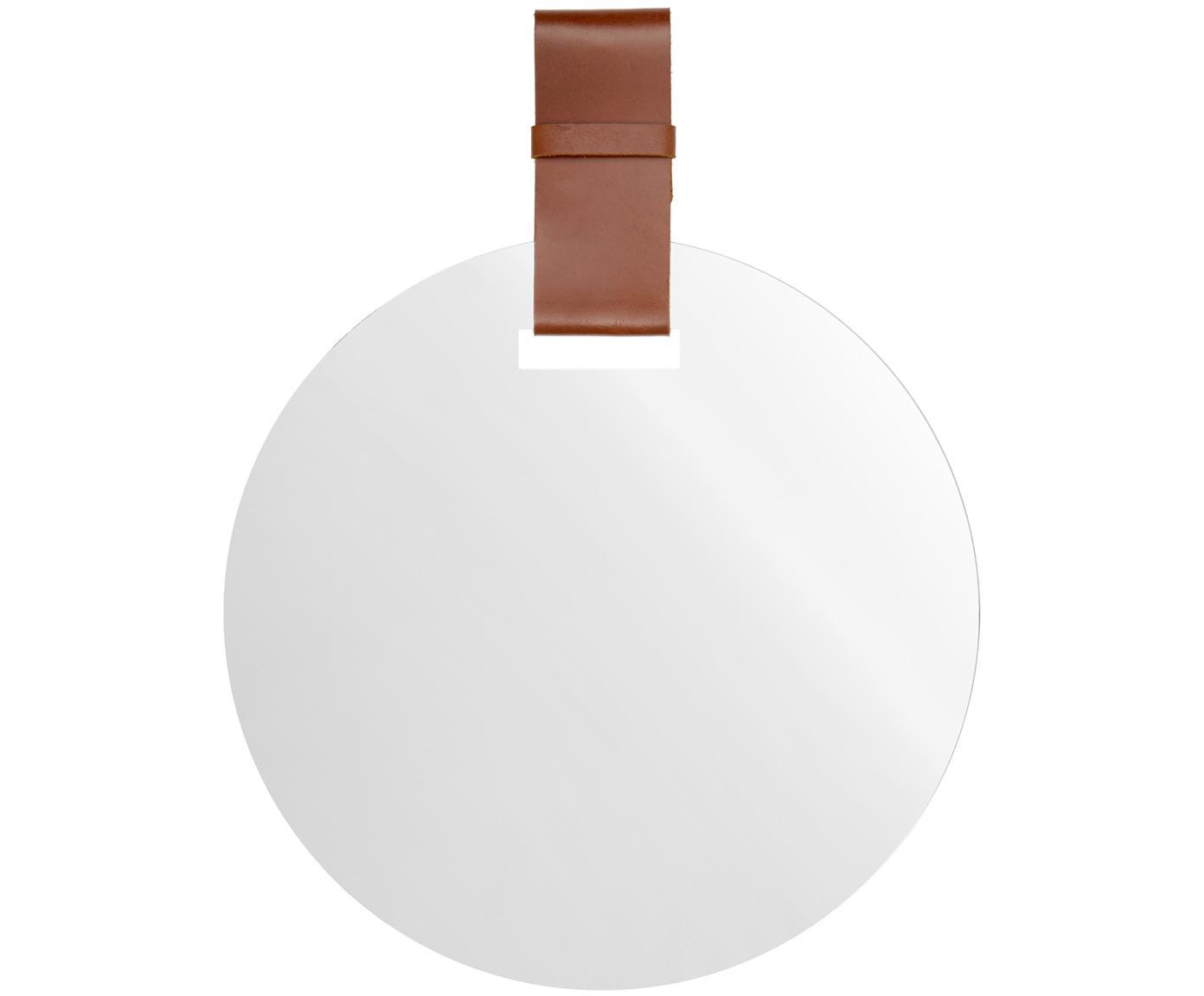 Espejo de pared Miles, Espejo: cristal, Parte trasera: tablero de fibras de dens, Correa: cuero, Espejo de cristal, coñac, Ø 40 cm