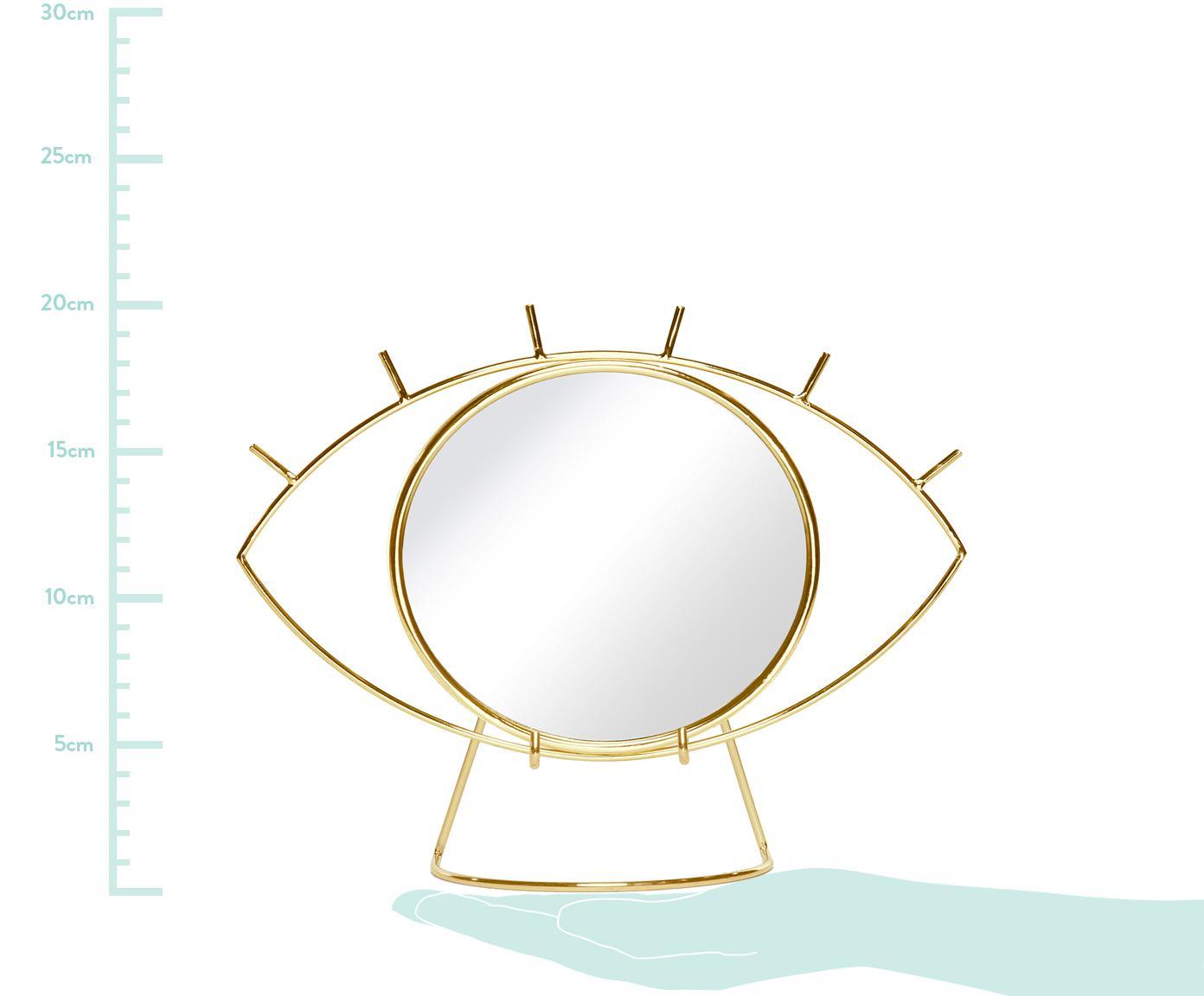 Kosmetikspiegel Lashes, Rahmen: Edelstahl, beschichtet, Spiegelfläche: Spiegelglas, Rahmen: GoldfarbenSpiegelfläche: Spiegelglas, 26 x 20 cm