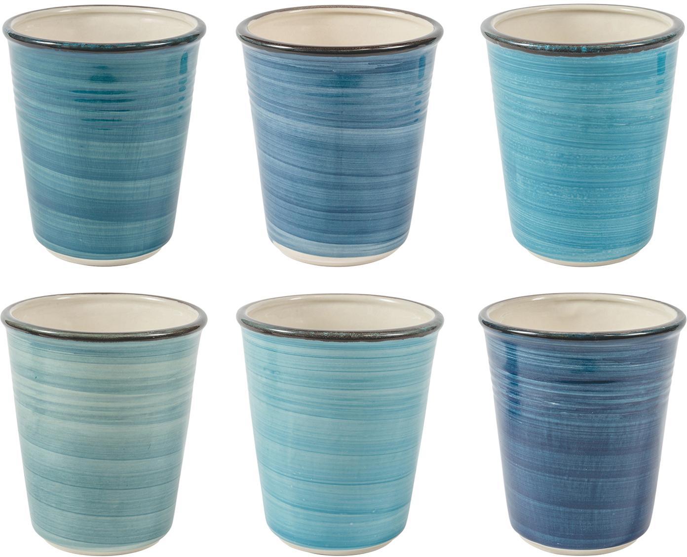 Handbemalte Becher Baita in Blautönen, 6er-Set, Steingut (Dolomitstein), handbemalt, Blautöne, Ø 9 x H 11 cm
