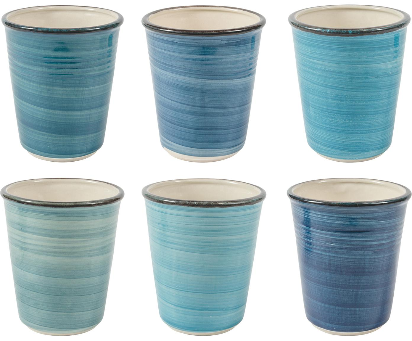 Bekersset Baita, 6-delig, Keramiek, Blauwtinten, grijs, beige, Ø 9 x H 11 cm
