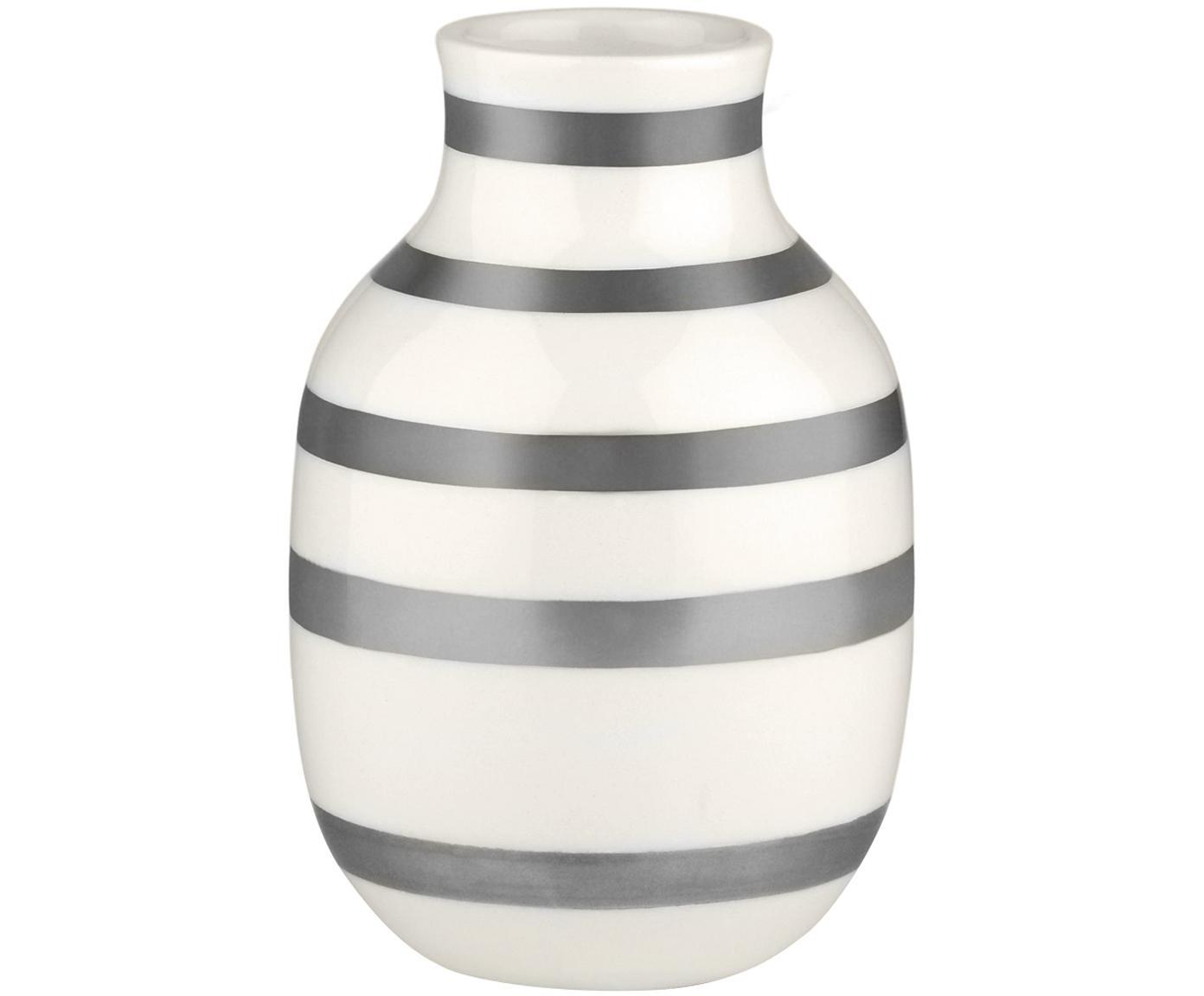 Kleine handgefertigte Design-Vase Omaggio, Keramik, Silberfarben, Weiss, Ø 8 x H 13 cm