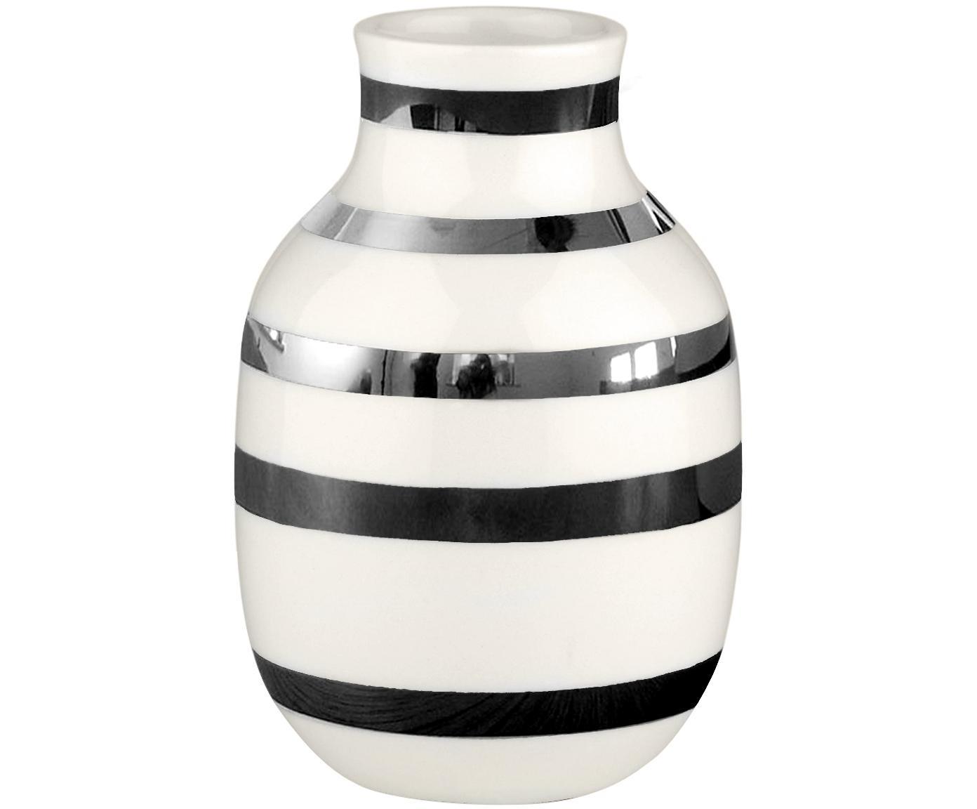 Kleine handgefertigte Design-Vase Omaggio, Keramik, Silberfarben, Weiß, Ø 8 x H 13 cm