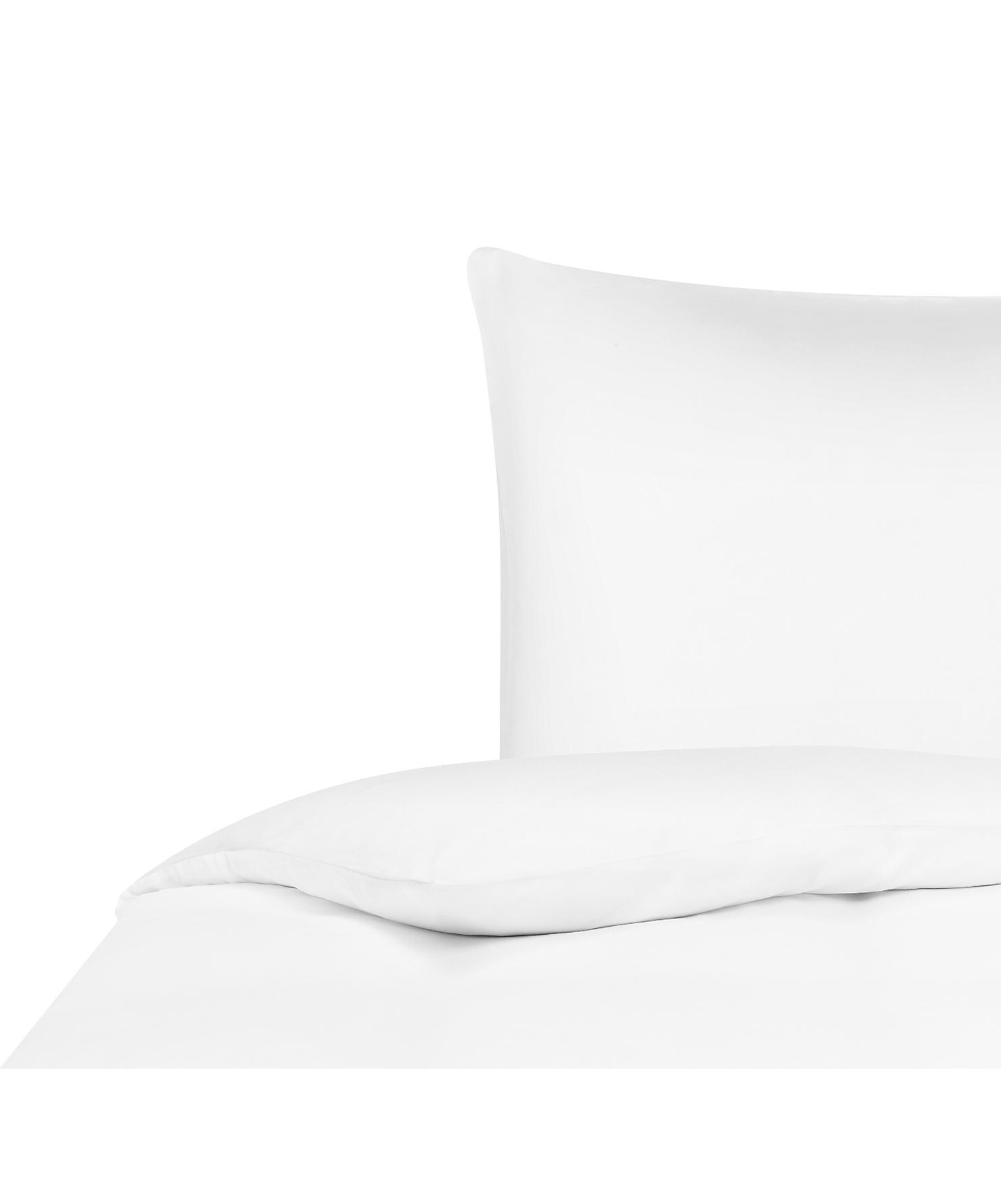 Bambus-Bettwäsche Skye in Weiß, 55% Bambus, 45% Baumwolle  Fadendichte 400 TC, Premium Qualität  Bambus ist hypoallergen und antibakteriell. Daher eignet das Material sich hervorragend für empfindliche Haut. Es ist amungsaktiv und absorbiert Feuchtigkeit, um so die Körpertemperatur im Schlaf zu regulieren., Weiß, 155 x 220 cm + 1 Kissen 80 x 80 cm