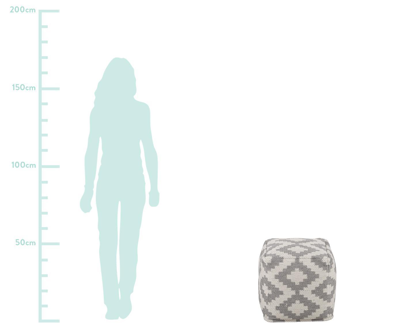 Pouf da interno-esterno Napua, Rivestimento: 100% poliestere riciclato, Grigio, Ecru, Larg. 40 x Alt. 40 cm