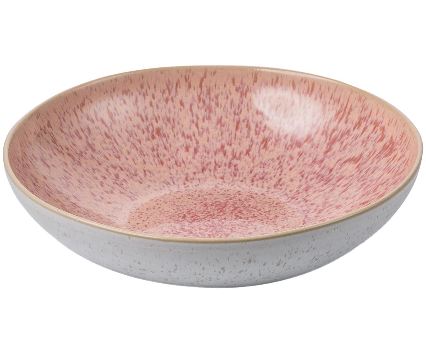 Ręcznie malowana miska Areia, Kamionka, Odcienie czerwonego, złamana biel, jasny beżowy, Ø 22 x W 5 cm