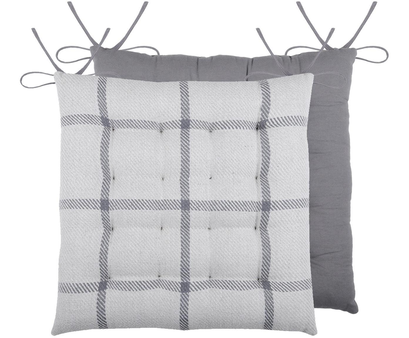 Cuscino sedia reversibile con motivo a quadri Leopold, Grigio scuro, grigio chiaro, Larg. 40 x Lung. 40 cm