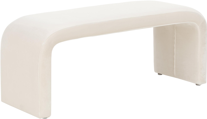 Moderne fluwelen bank Penelope, Bekleding: fluweel (polyester), Frame: metaal, spaanplaat, Crèmewit, 110 x 46 cm