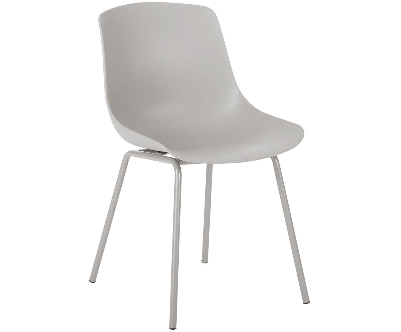 Krzesło z tworzywa sztucznego Joe, 2 szt., Nogi: metal malowany proszkowo, Taupe, S 46 x G 53 cm