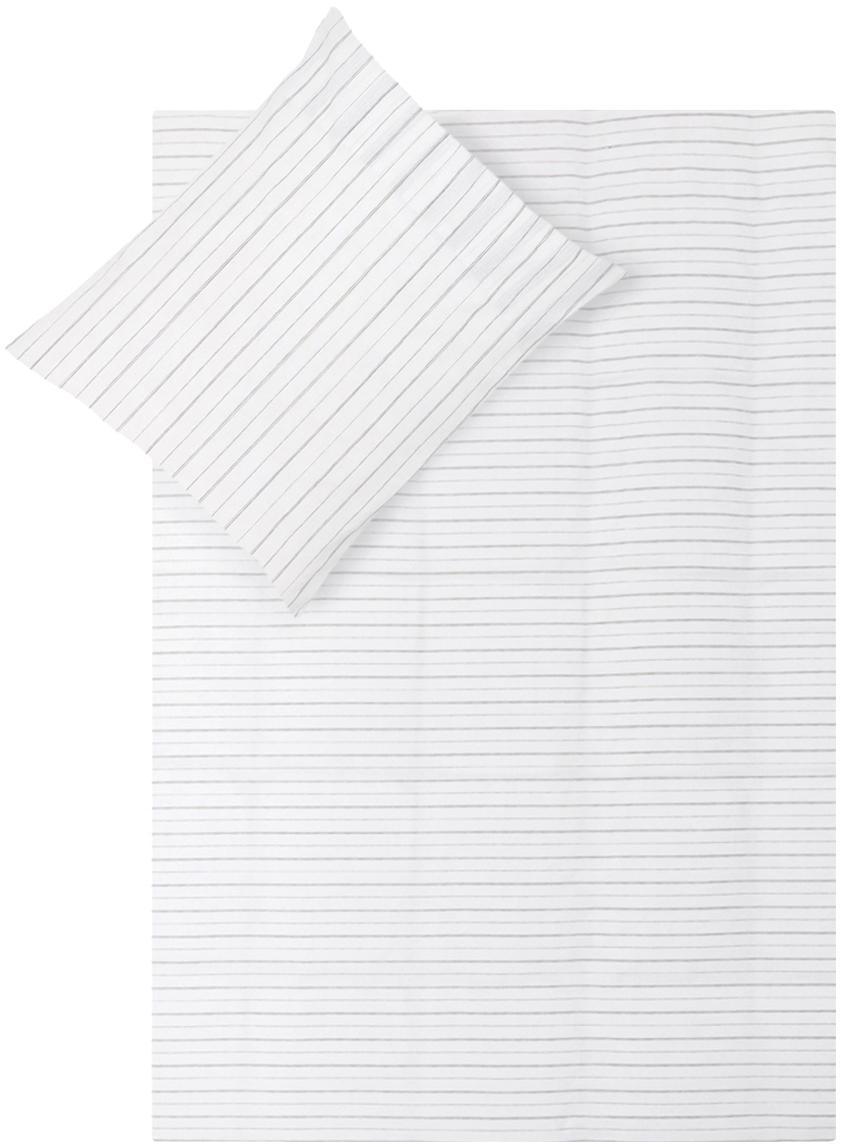 Baumwoll-Wendebettwäsche Head Over Lines, gestreift, Webart: Renforcé Renforcé besteht, Weiß, Dunkelgrau, 155 x 220 cm + 1 Kissen 80 x 80 cm