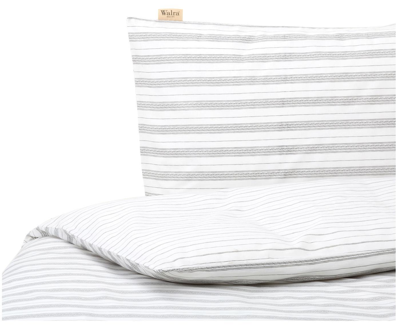Dwustronna pościel z bawełny Head Over Lines, Biały, ciemny szary, 135 x 200 cm