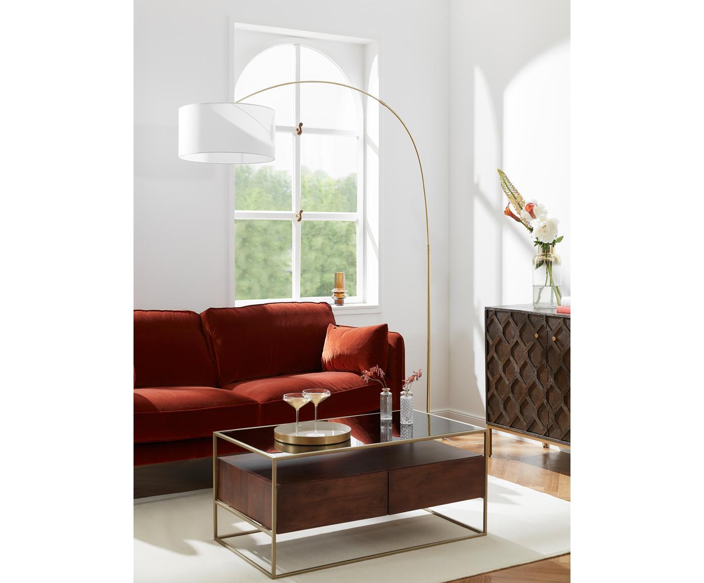 Lampa podłogowa w kształcie łuku Niels, Klosz: biały Podstawa lampy: odcienie mosiądzu Kabel: transparentny, S 157 x W 218 cm
