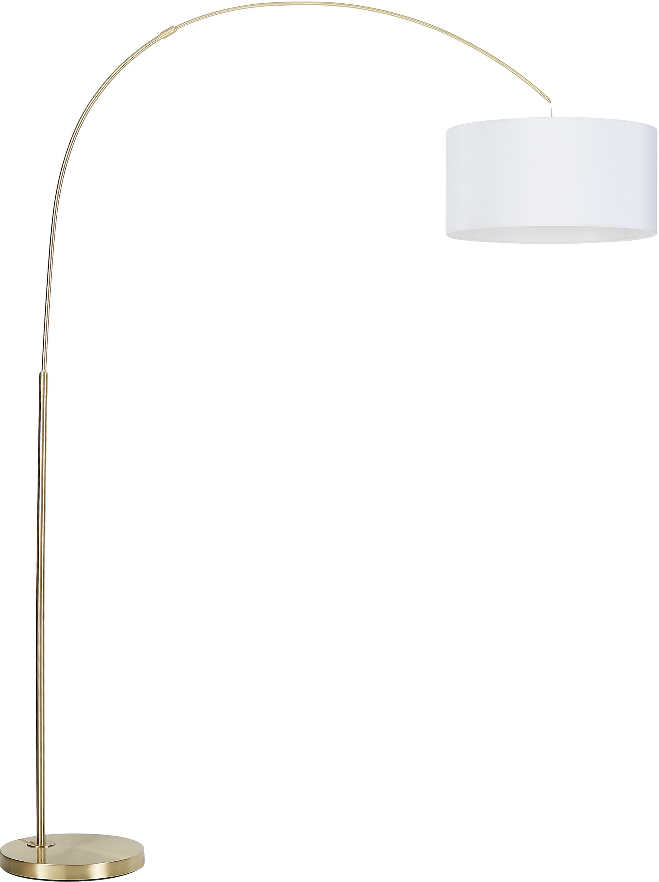 Moderne Bogenlampe Niels, Lampenschirm: Baumwollgemisch, Lampenfuß: Metall, gebürstet, Lampenschirm: WeißLampenfuß: MessingfarbenKabel: Transparent, 157 x 218 cm