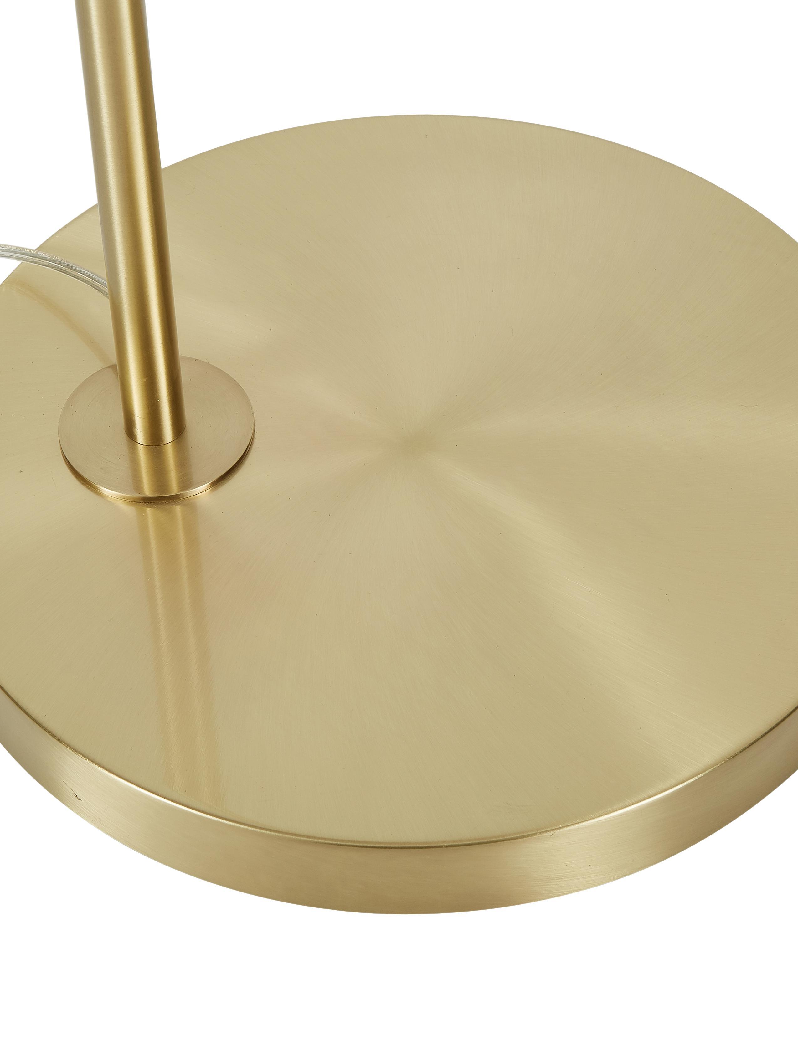 Booglamp Niels, Lampvoet: geborsteld metaal, Lampenkap: katoenmix, Lampenkap: wit. Lampvoet: messingkleurig. Snoer: transparant, 157 x 218 cm