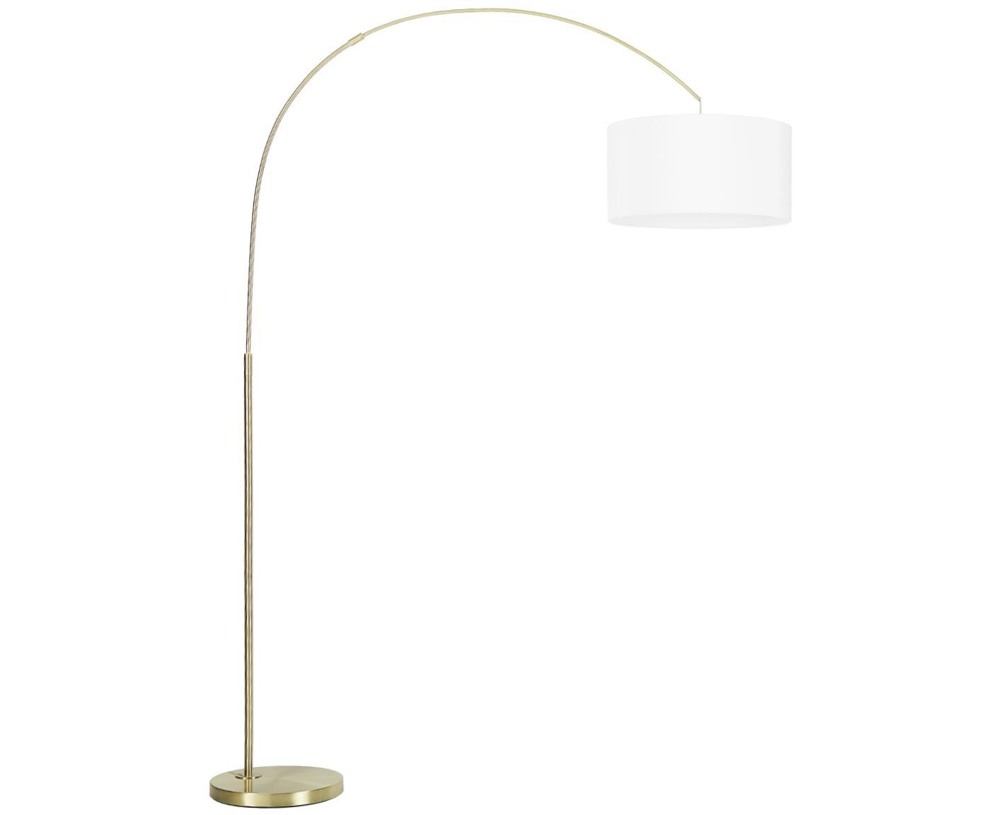 Bogenlampe Niels, Lampenfuß: Metall, gebürstet, Lampenschirm: Baumwollgemisch, Lampenschirm: WeißLampenfuß: MessingfarbenKabel: Transparent, 157 x 218 cm
