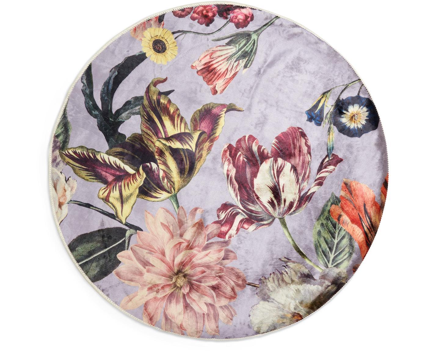 Runder Teppich Filou mit Blumenmuster, 60% Polyester, 30% thermoplastisches Polyurethan, 10% Baumwolle, Lila, Mehrfarbig, Ø 180 cm (Größe L)