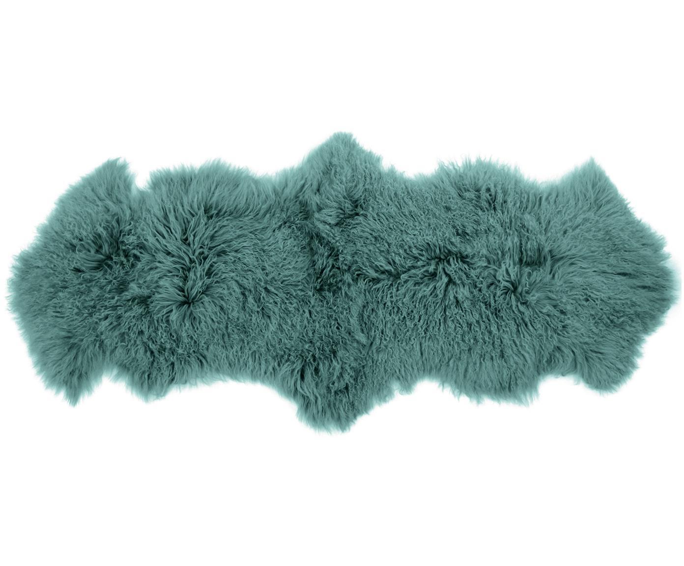 Langharige schapenvacht Ella, Bovenzijde: 100% Mongoolse schapenvac, Onderzijde: 100% leer, Donker turquoise, 50 x 160 cm