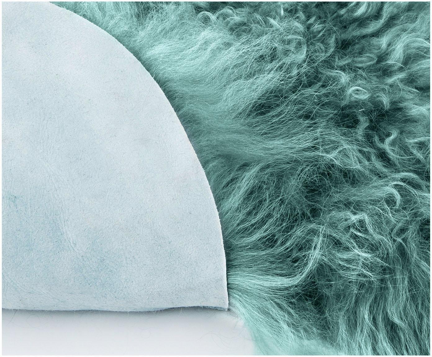 Langhaar-Lammfell Ella, gelockt, Vorderseite: 100% mongolisches Lammfel, Rückseite: 100% Leder, Dunkles Türkis, 50 x 160 cm