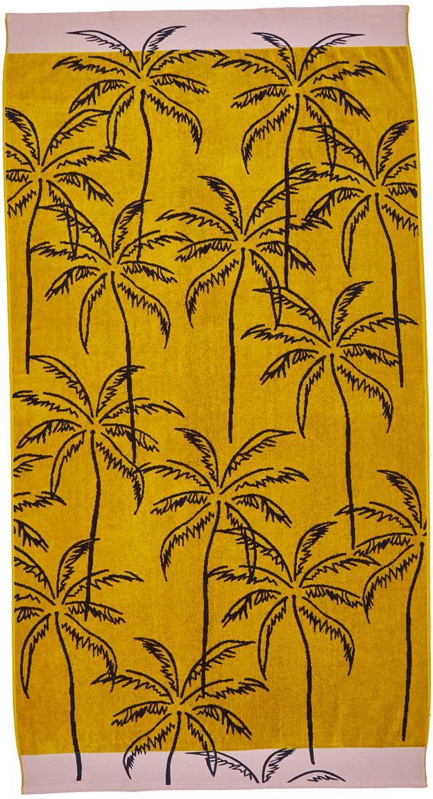 Telo mare mango Mojito, Retro: cotone, qualità leggera, Tessuto: spugna, Giallo senape, nero, rosa, Larg. 100 x Lung. 180 cm