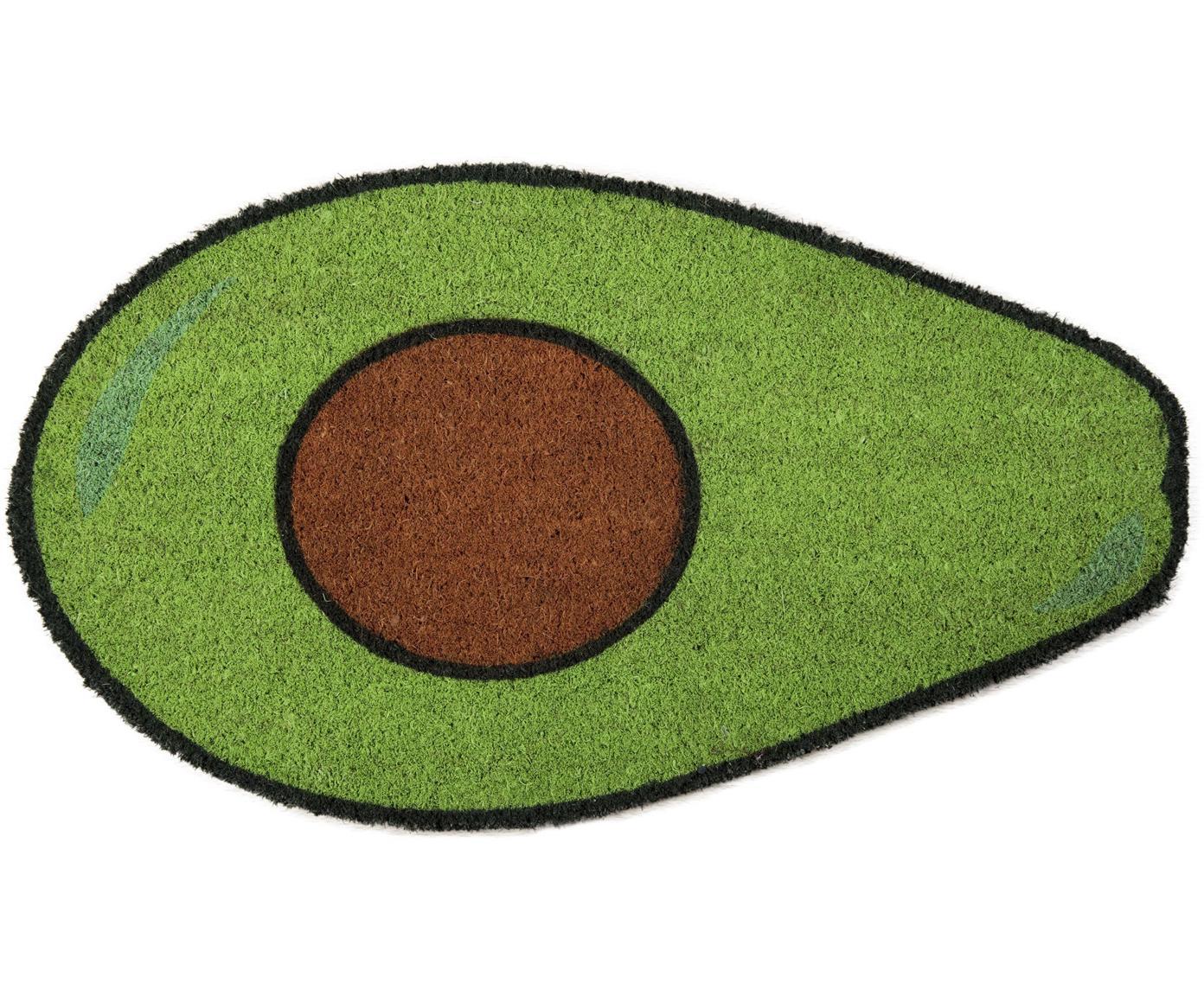 Fussmatte Avocado, Oberseite: Kokosfaser, Unterseite: PVC, Grün, Braun, Schwarz, 40 x 70 cm