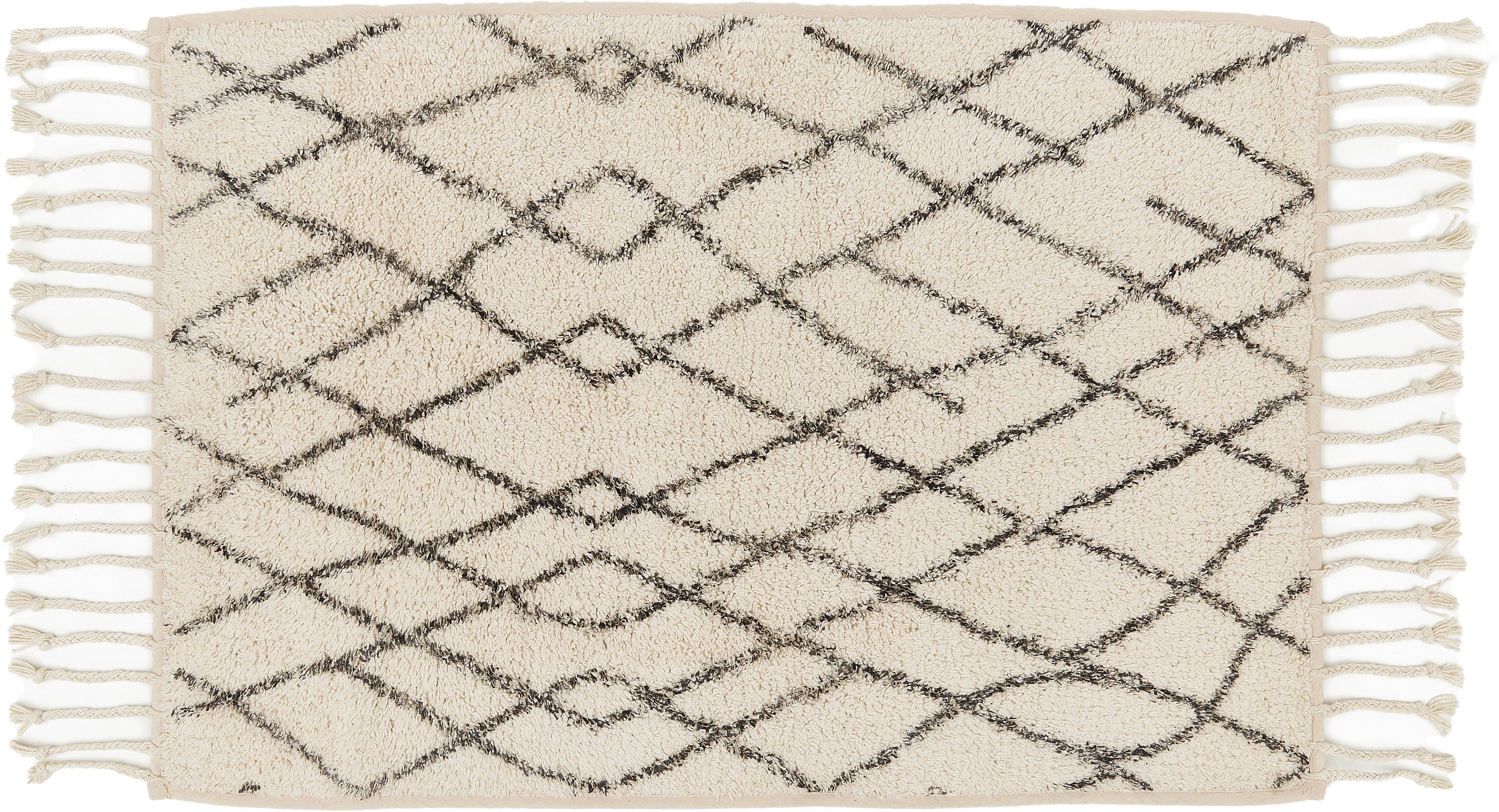 Flauschige Badematte Beth mit Quasten, rutschfest, Flor: 100% Baumwolle, Creme, Grau, 60 x 90 cm
